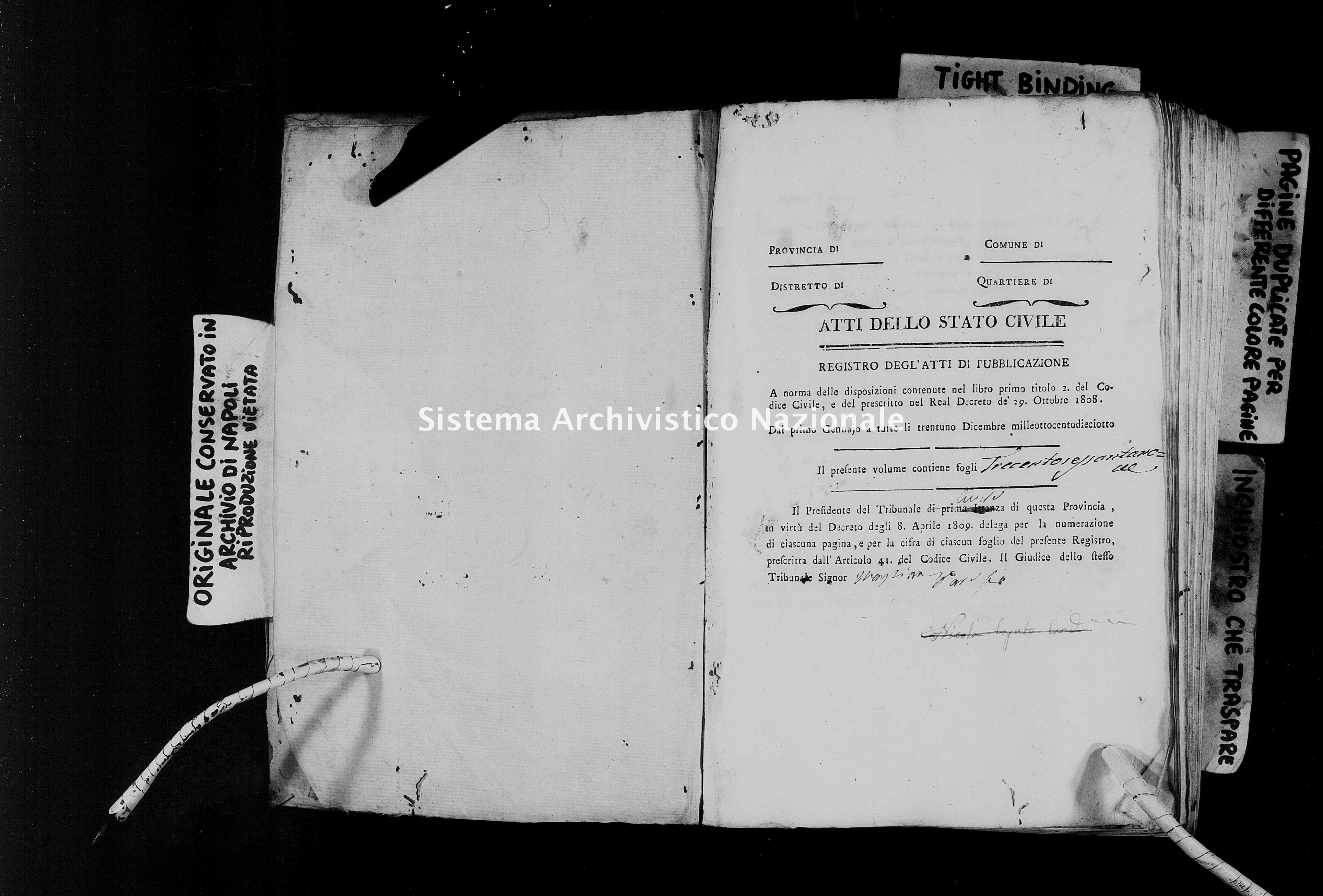 Archivio di stato di Napoli - Stato civile della restaurazione - Avvocata - Matrimoni, pubblicazioni - 1818 -