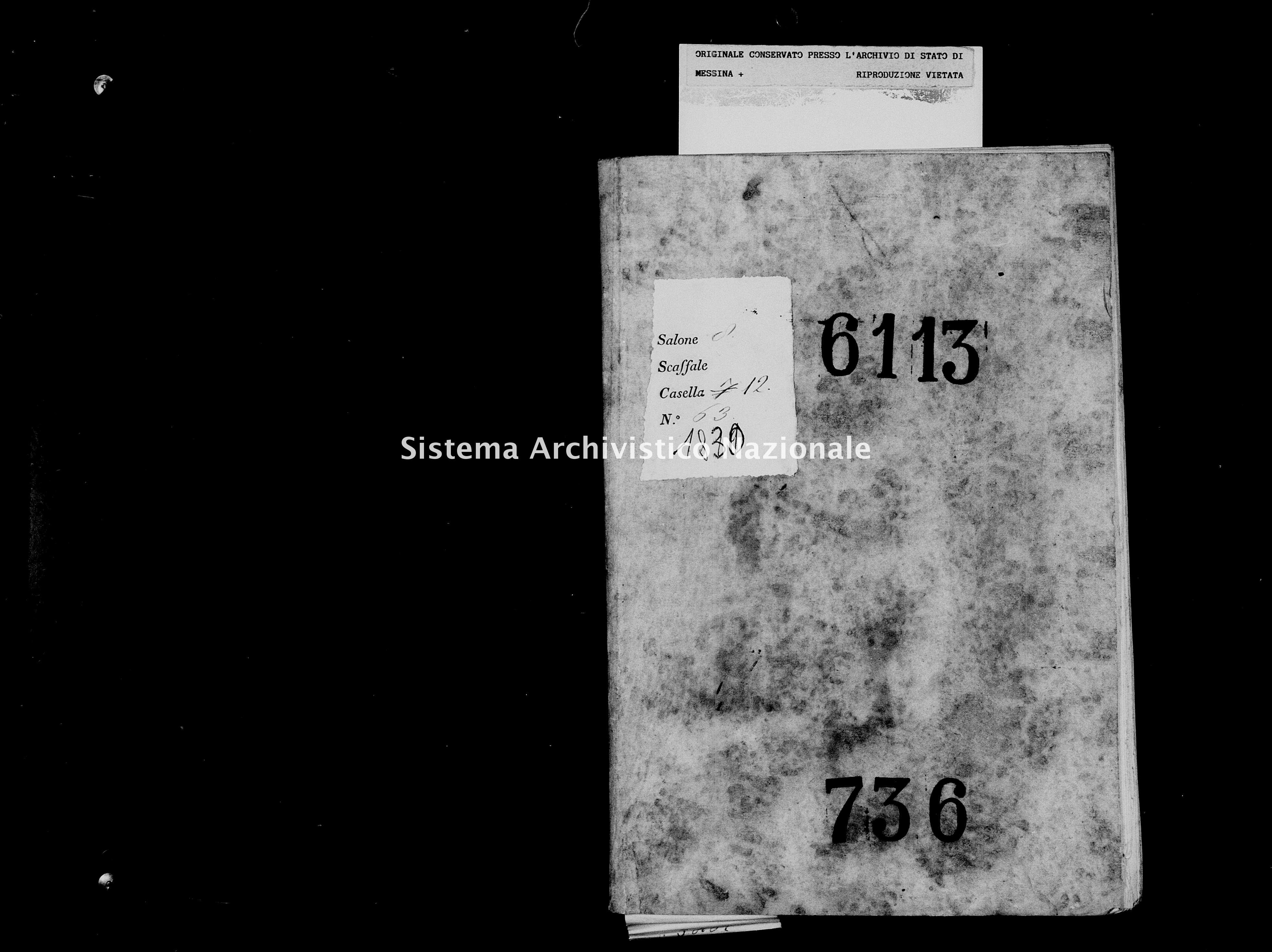 Archivio di stato di Messina - Stato civile della restaurazione - Militello - Morti - 1830 - 736 -