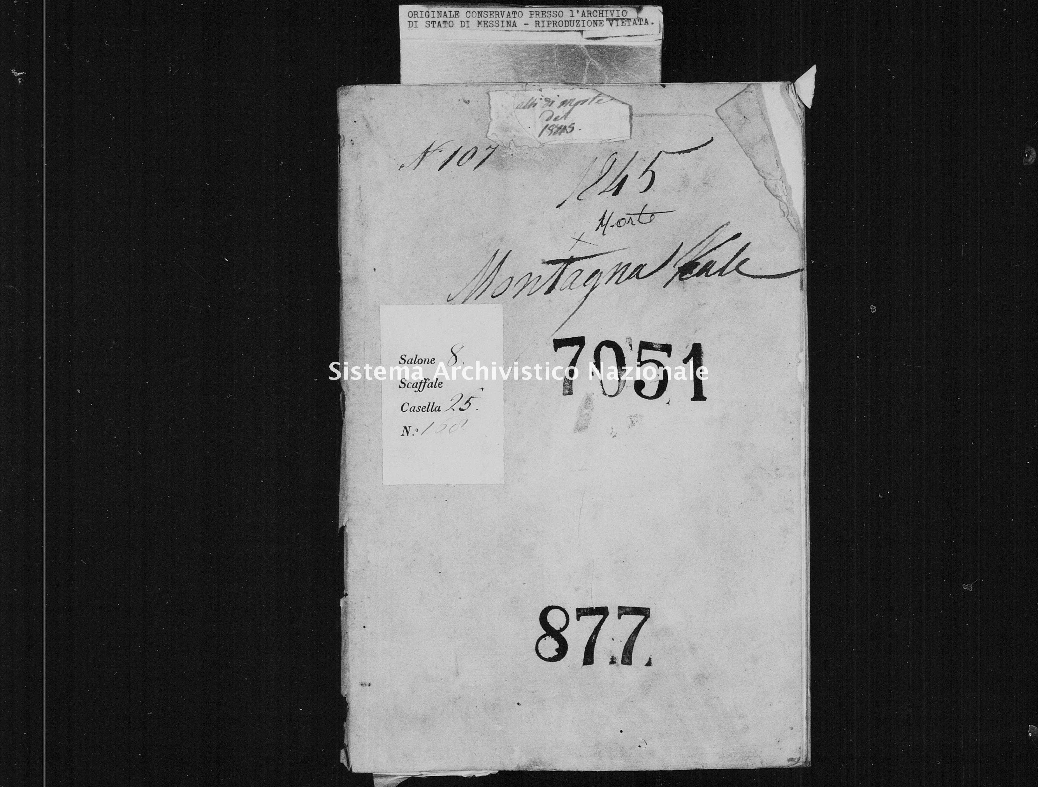 Archivio di stato di Messina - Stato civile della restaurazione - Montagnareale - Morti - 1845 - 877 -