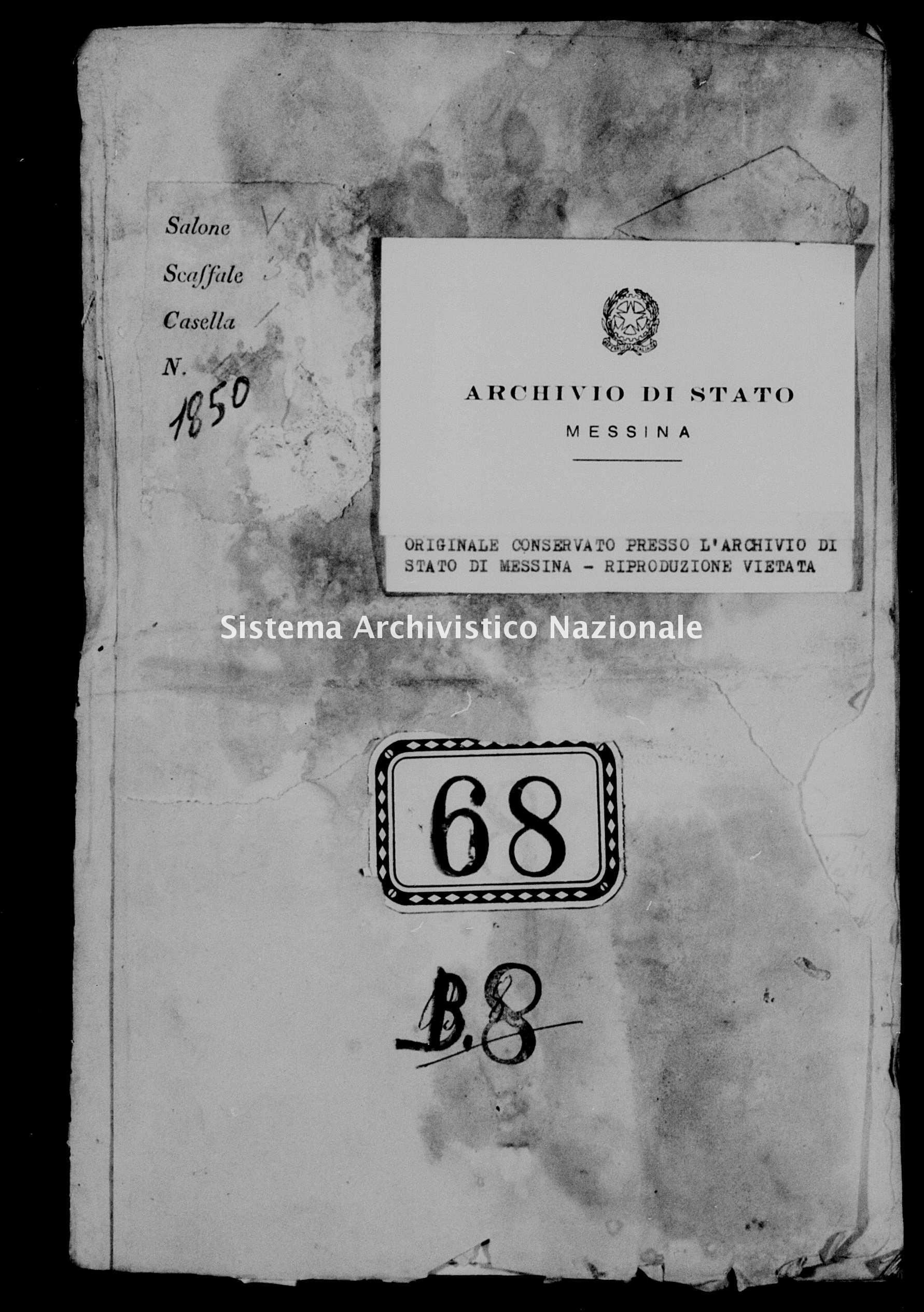 Archivio di stato di Messina - Stato civile della restaurazione - Alcara li Fusi - Diversi - 1850 -