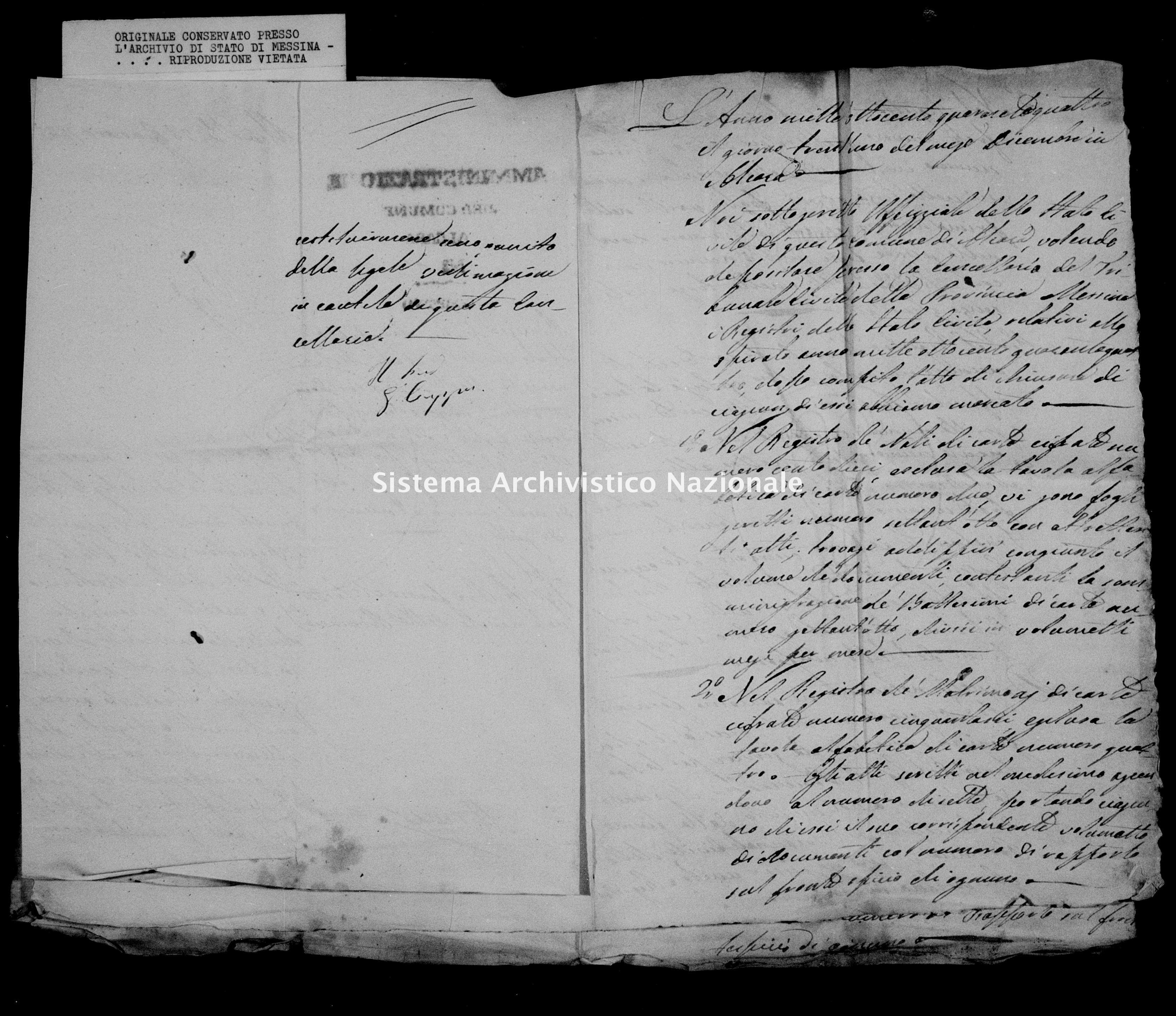 Archivio di stato di Messina - Stato civile della restaurazione - Alcara li Fusi - Inventario - 1844 -