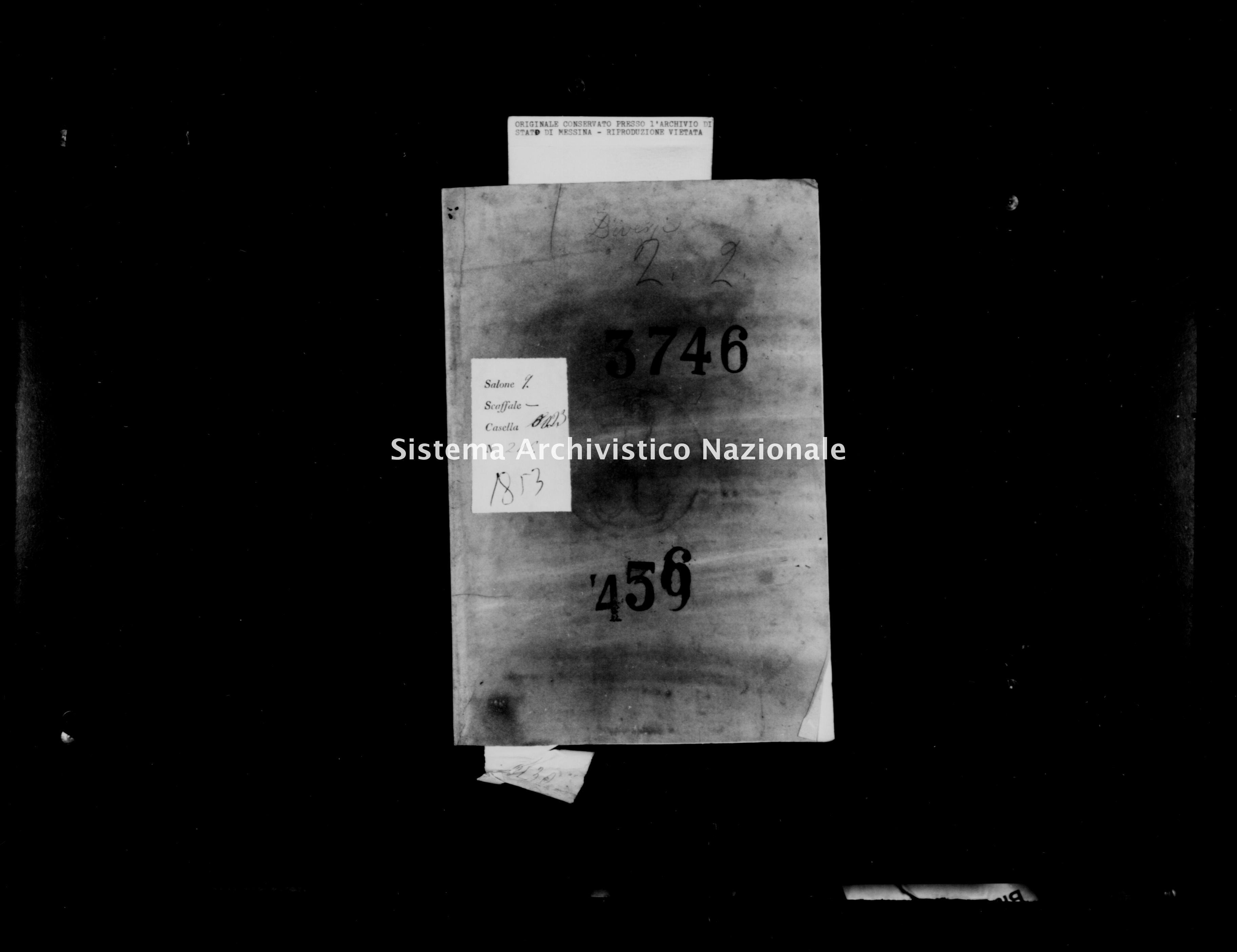Archivio di stato di Messina - Stato civile della restaurazione - Gallodoro - Diversi - 1853 - 456 -