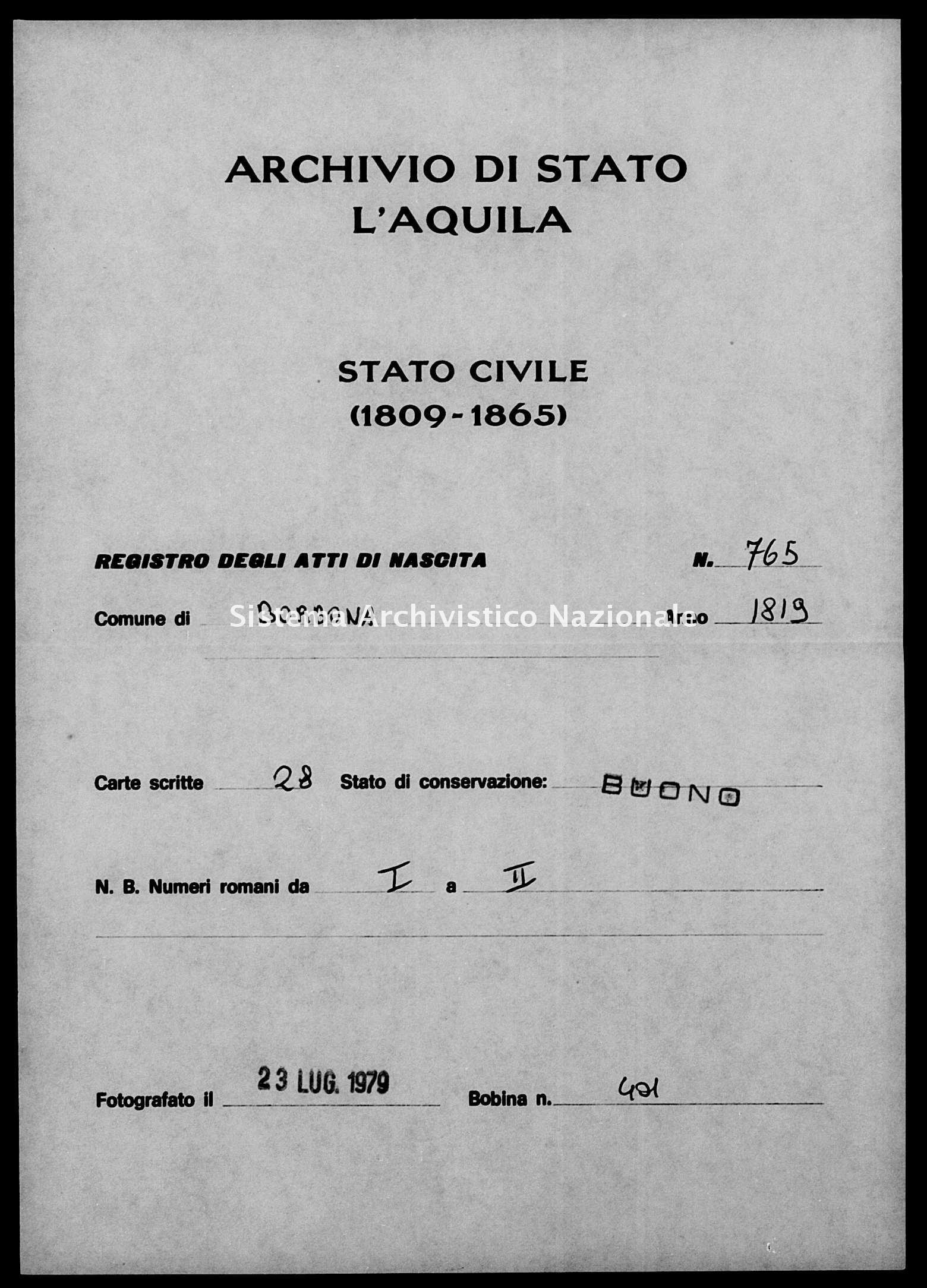 Archivio di stato di L'aquila - Stato civile della restaurazione - Borbona - Nati - 1819 - 765 -
