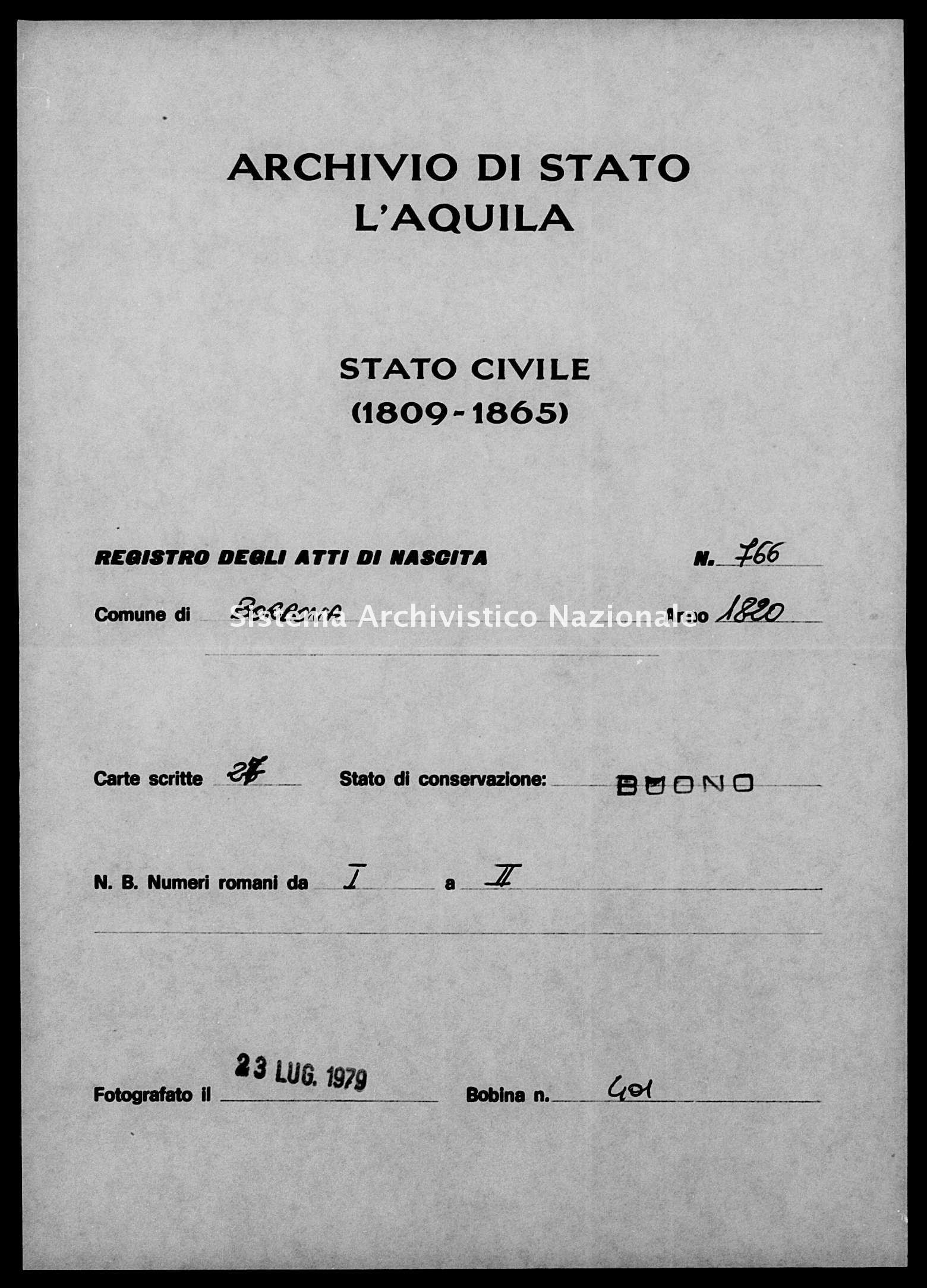 Archivio di stato di L'aquila - Stato civile della restaurazione - Borbona - Nati - 1820 - 766 -