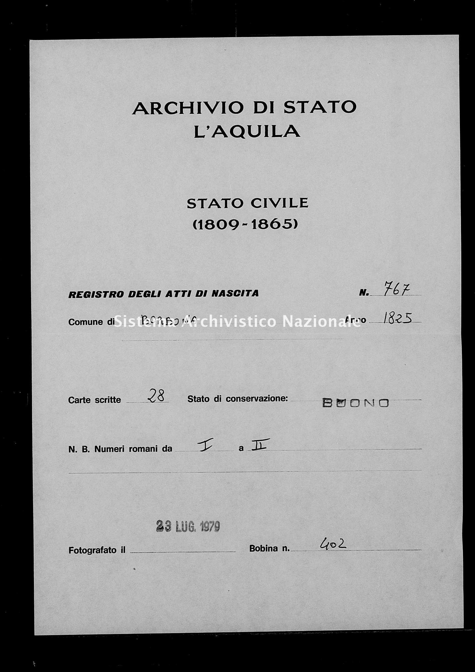 Archivio di stato di L'aquila - Stato civile della restaurazione - Borbona - Nati - 1825 - 767 -