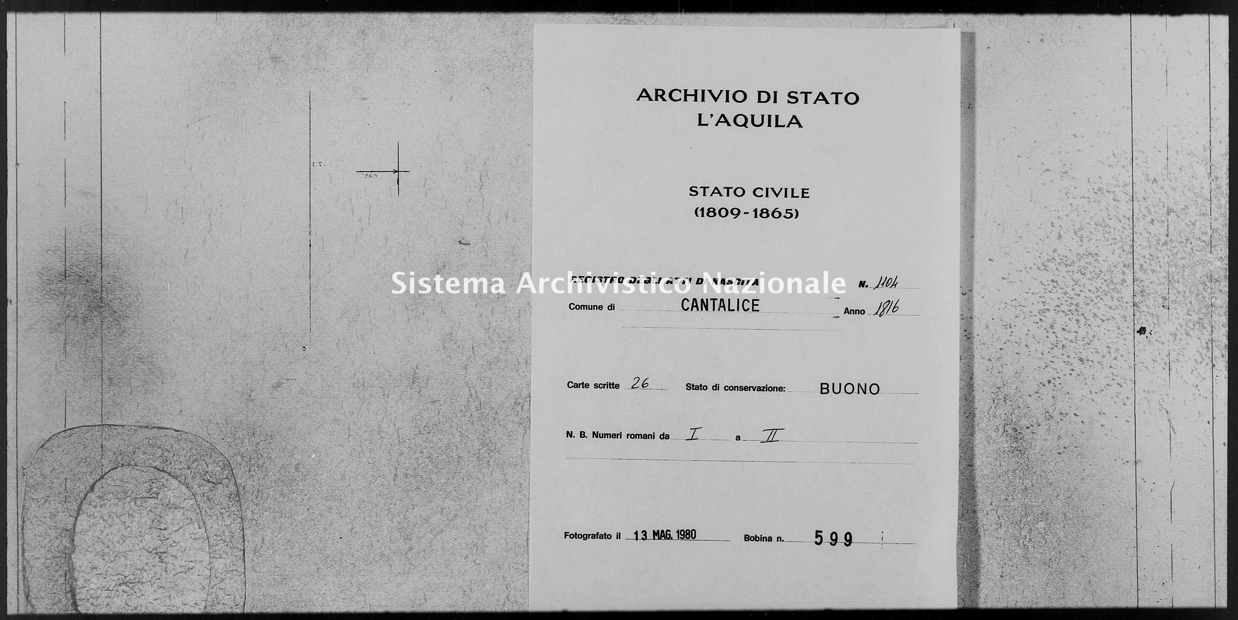 Archivio di stato di L'aquila - Stato civile della restaurazione - Cantalice - Nati - 1816 - 1104 -