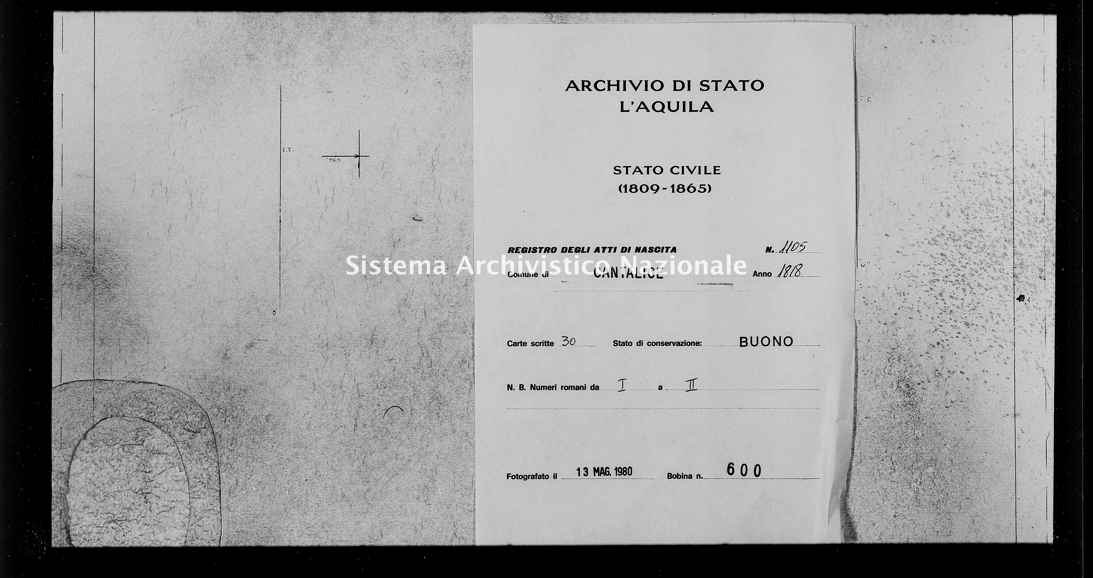 Archivio di stato di L'aquila - Stato civile della restaurazione - Cantalice - Nati - 1818 - 1105 -