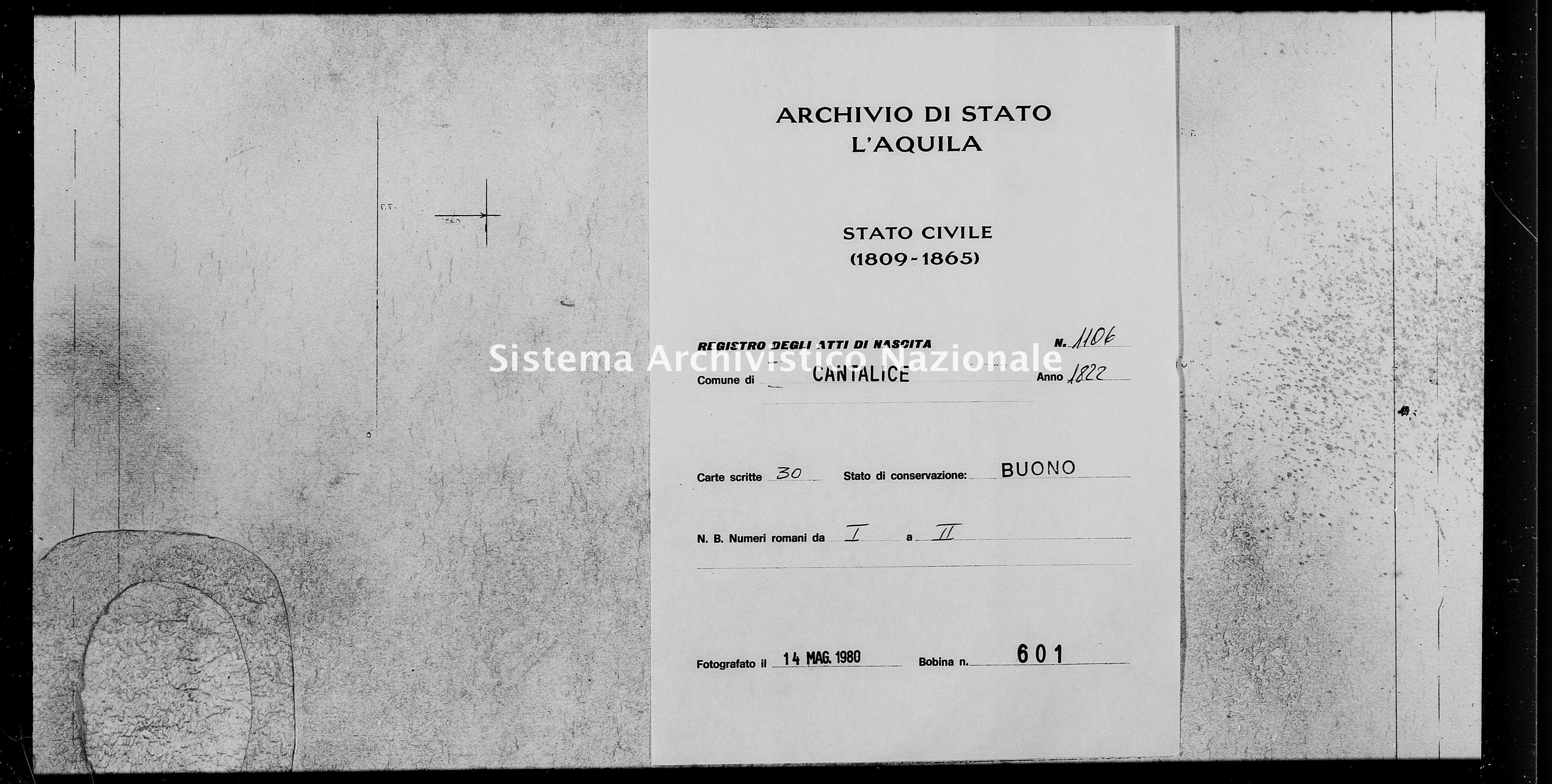 Archivio di stato di L'aquila - Stato civile della restaurazione - Cantalice - Nati - 1822 - 1106 -