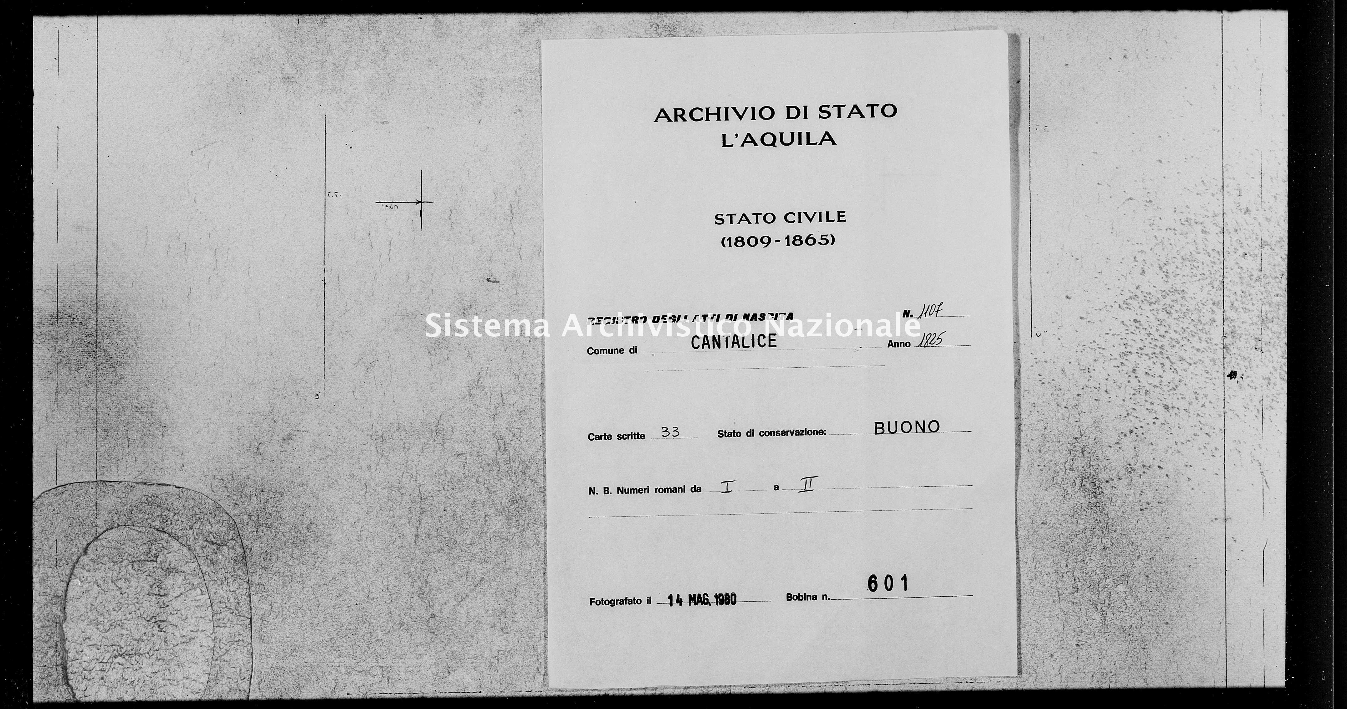 Archivio di stato di L'aquila - Stato civile della restaurazione - Cantalice - Nati - 1825 - 1107 -