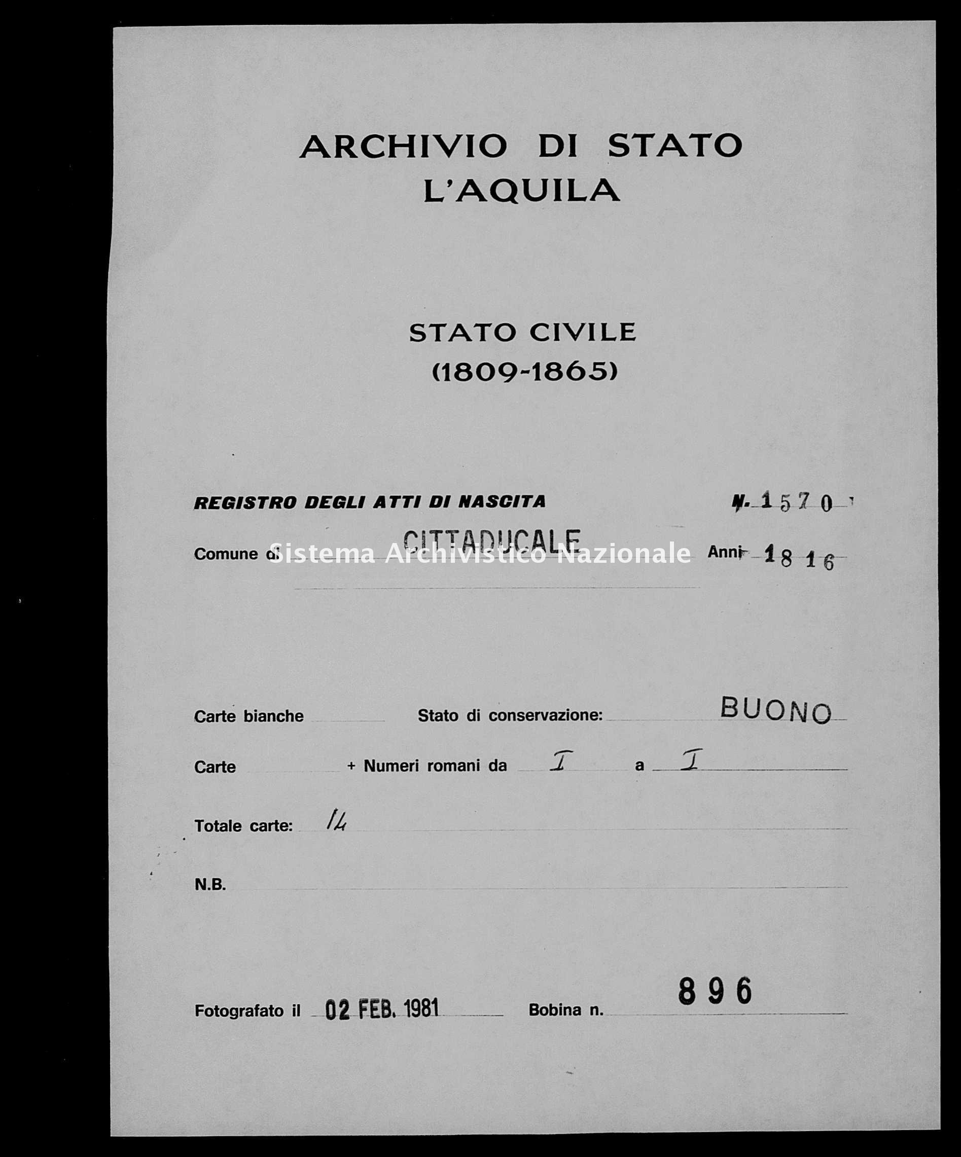 Archivio di stato di L'aquila - Stato civile della restaurazione - Cittaducale - Nati - 1816 - 1570 -