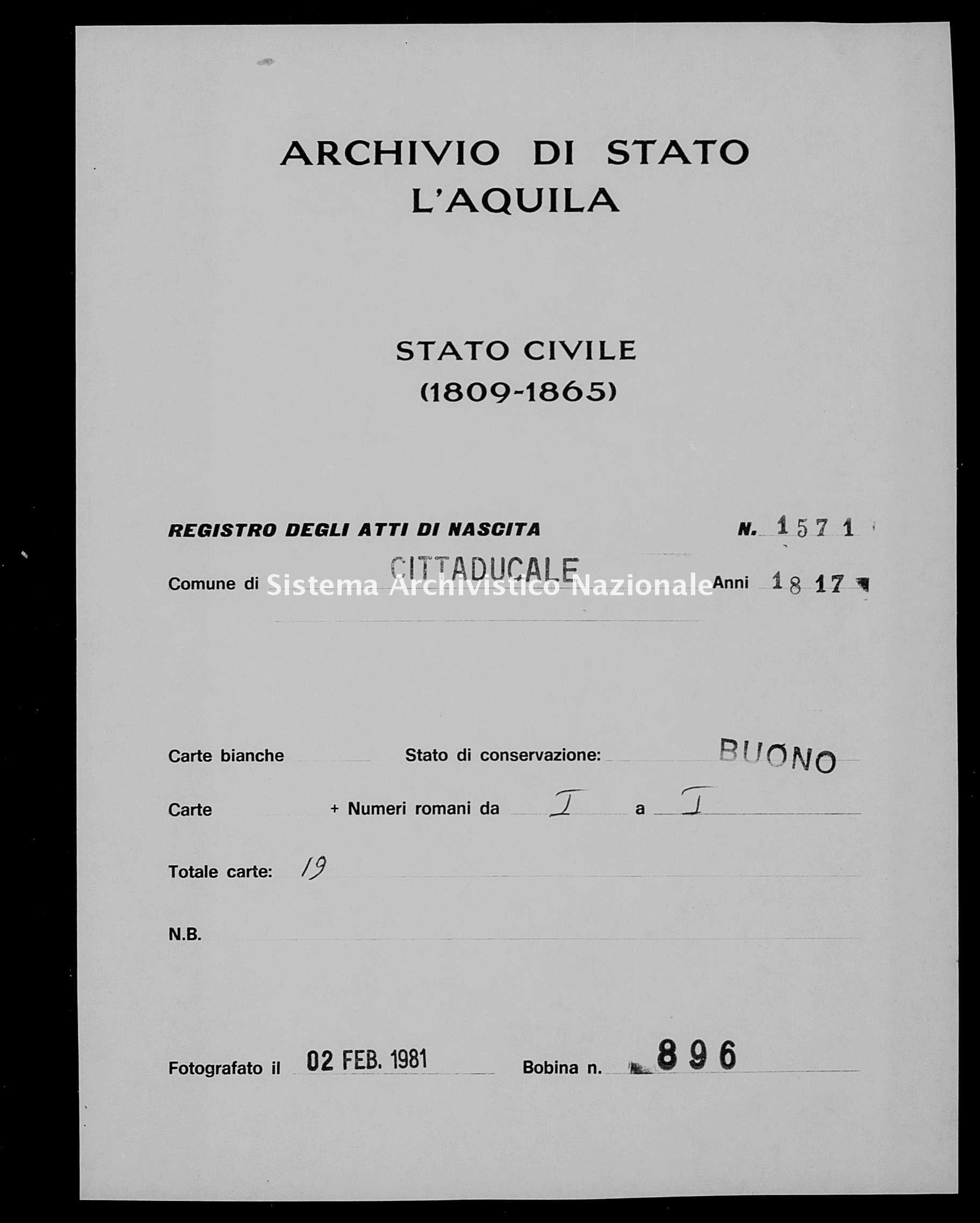 Archivio di stato di L'aquila - Stato civile della restaurazione - Cittaducale - Nati - 1817 - 1571 -