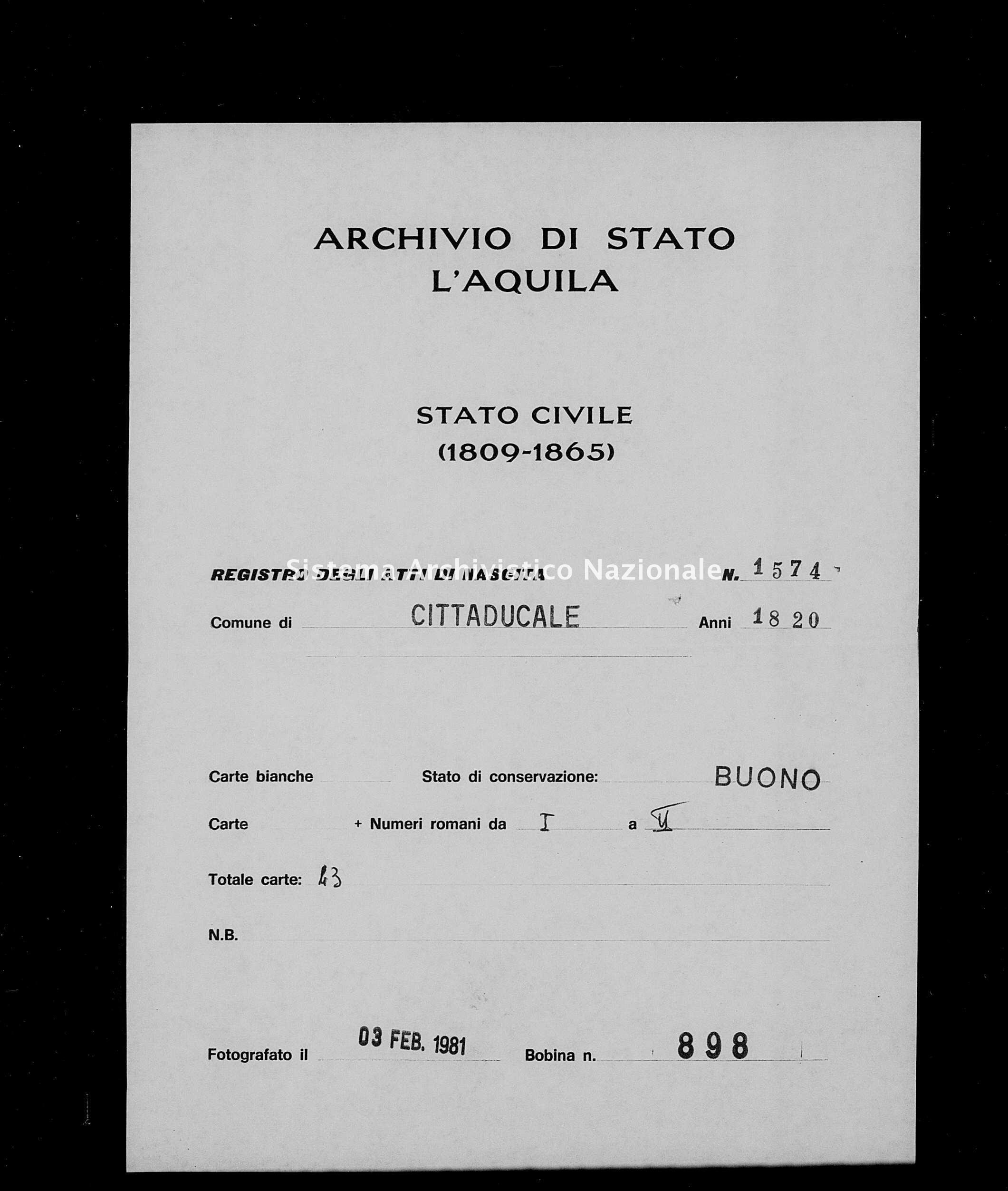 Archivio di stato di L'aquila - Stato civile della restaurazione - Cittaducale - Nati - 1820 - 1574 -