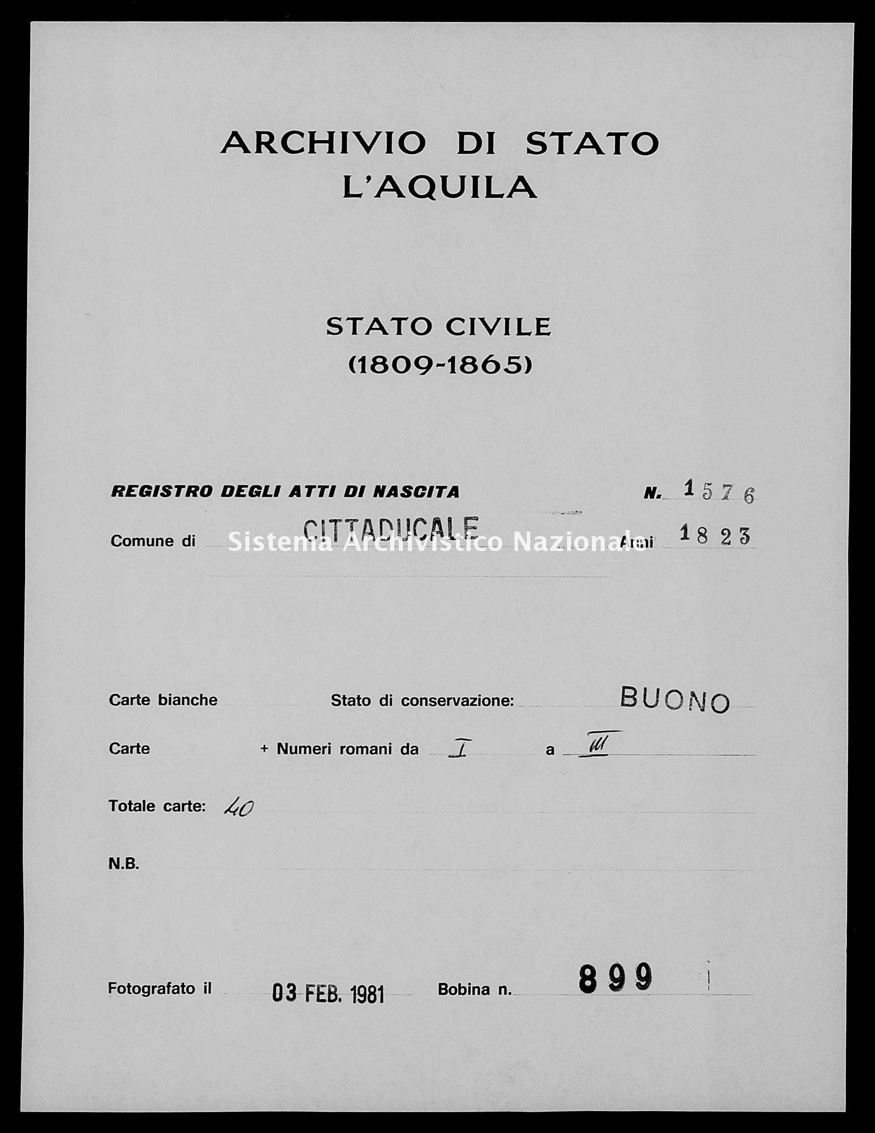 Archivio di stato di L'aquila - Stato civile della restaurazione - Cittaducale - Nati - 1823 - 1576 -