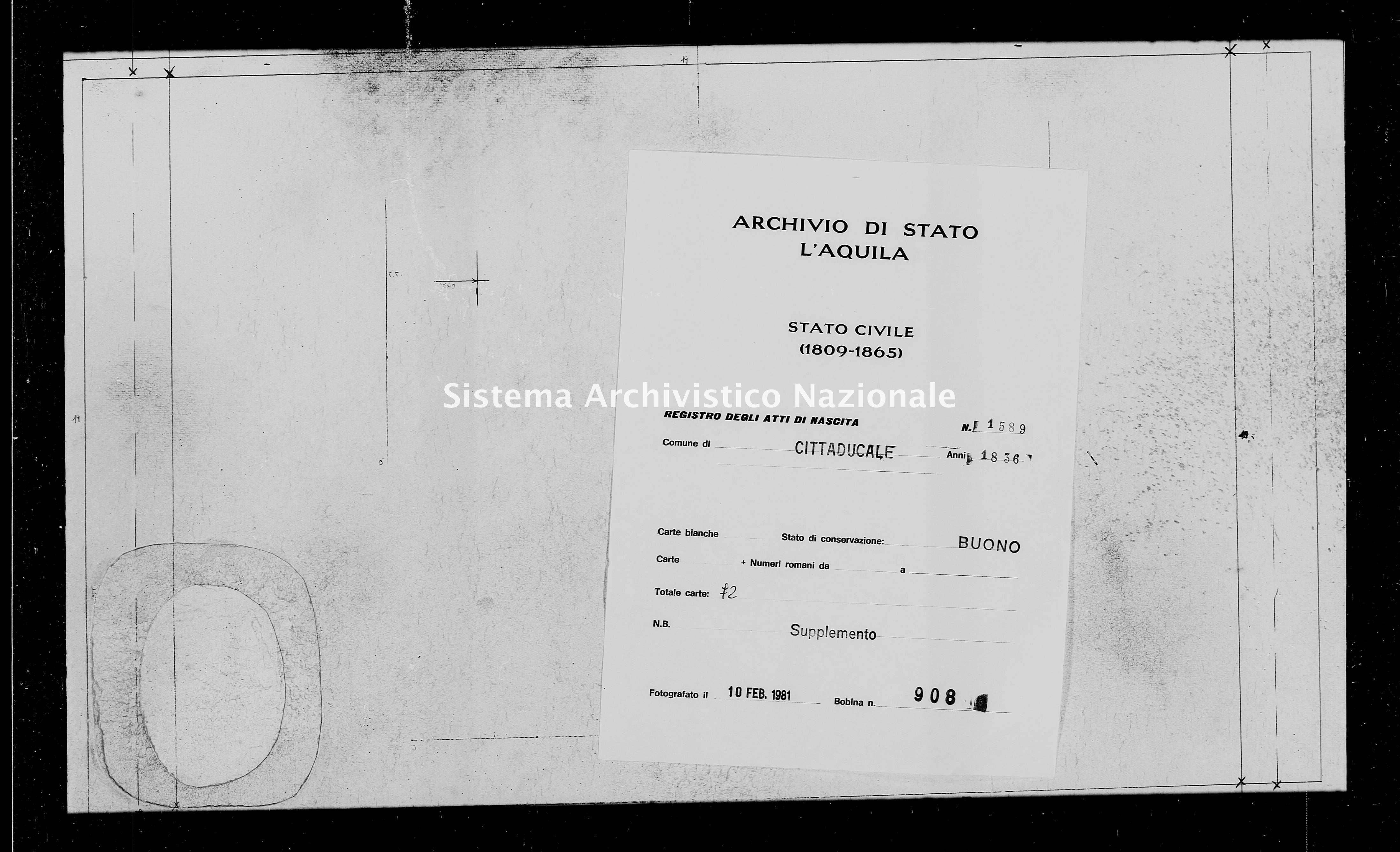 Archivio di stato di L'aquila - Stato civile della restaurazione - Cittaducale - Nati, battesimi - 1836 - 1589 -