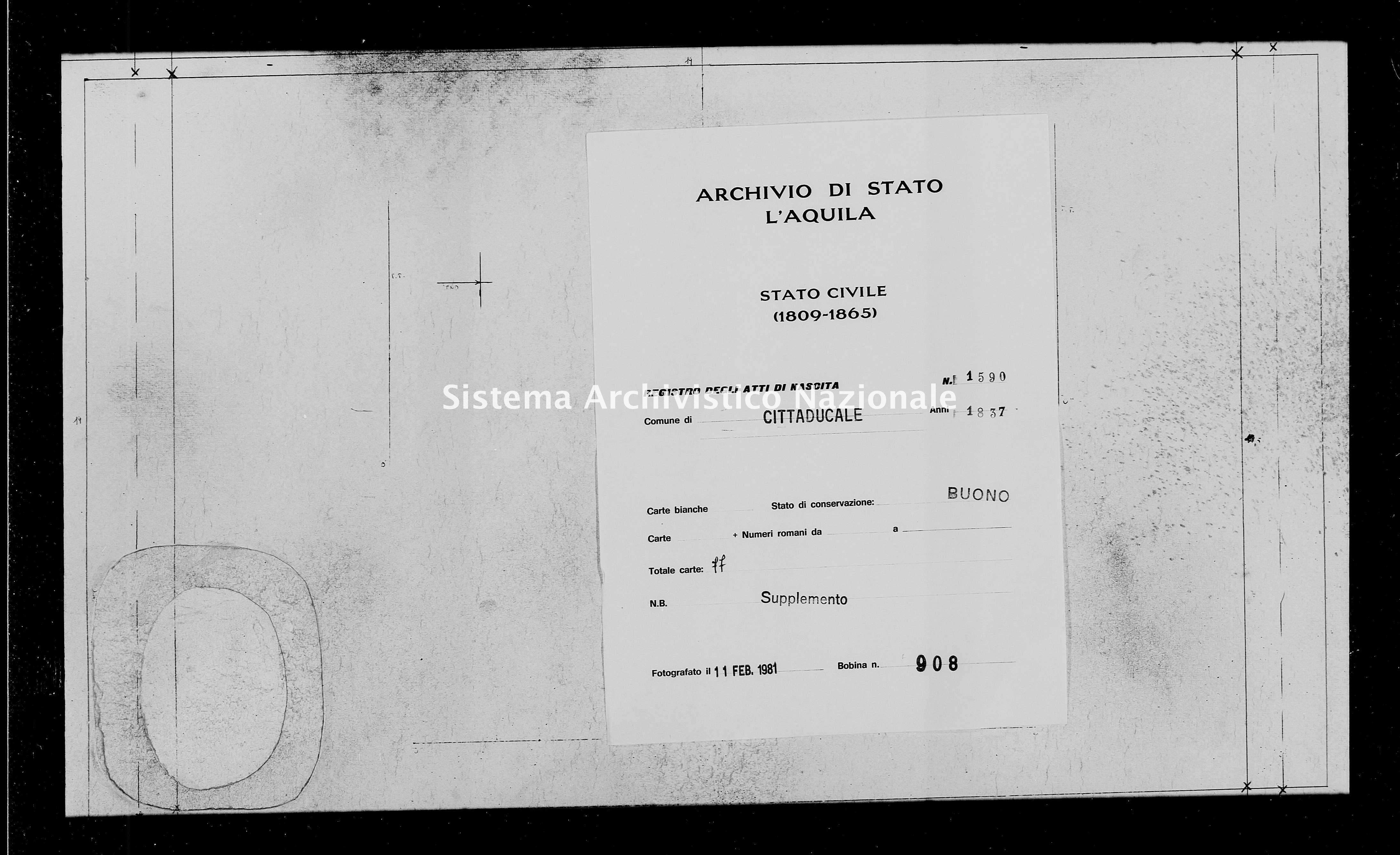 Archivio di stato di L'aquila - Stato civile della restaurazione - Cittaducale - Nati, battesimi - 1837 - 1590 -
