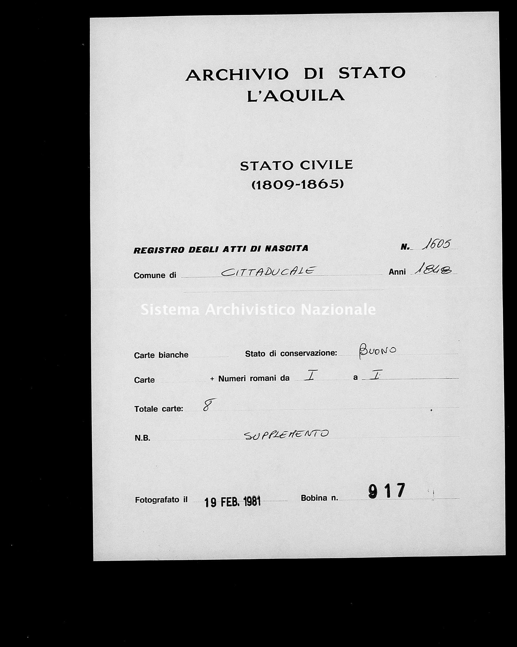 Archivio di stato di L'aquila - Stato civile della restaurazione - Cittaducale - Nati, esposti - 1848 - 1605 -