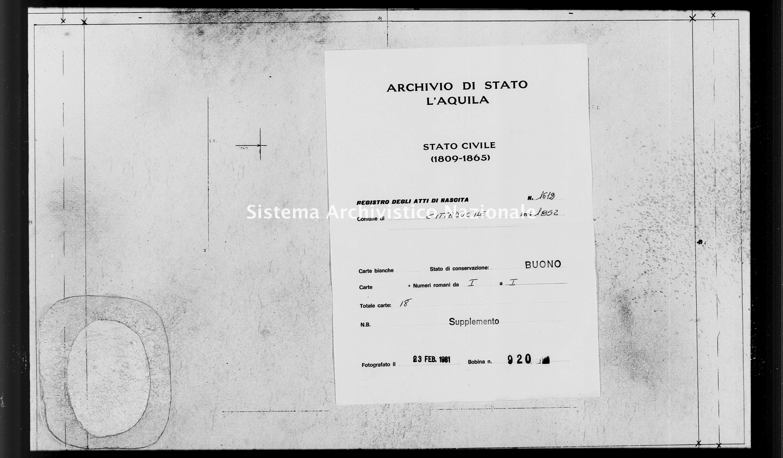 Archivio di stato di L'aquila - Stato civile della restaurazione - Cittaducale - Nati, esposti - 1852 - 1612 -