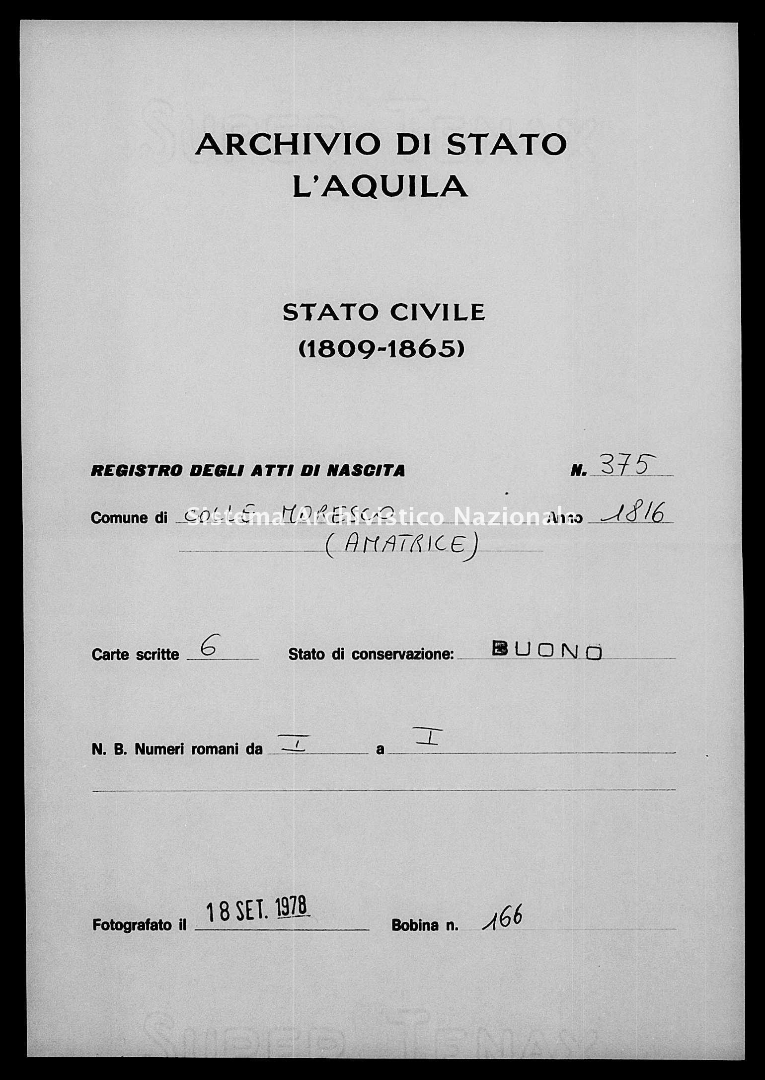 Archivio di stato di L'aquila - Stato civile della restaurazione - Collemoresco - Nati - 1816 - 375 -