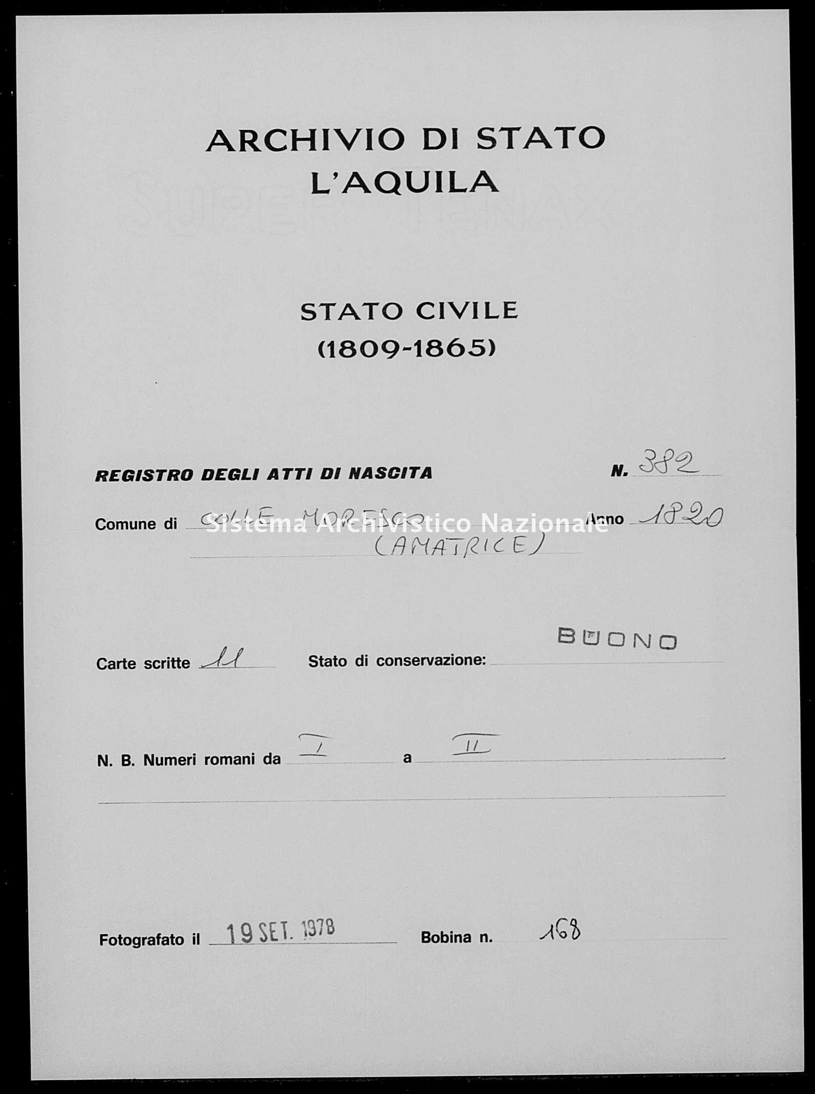 Archivio di stato di L'aquila - Stato civile della restaurazione - Collemoresco - Nati - 1820 - 382 -
