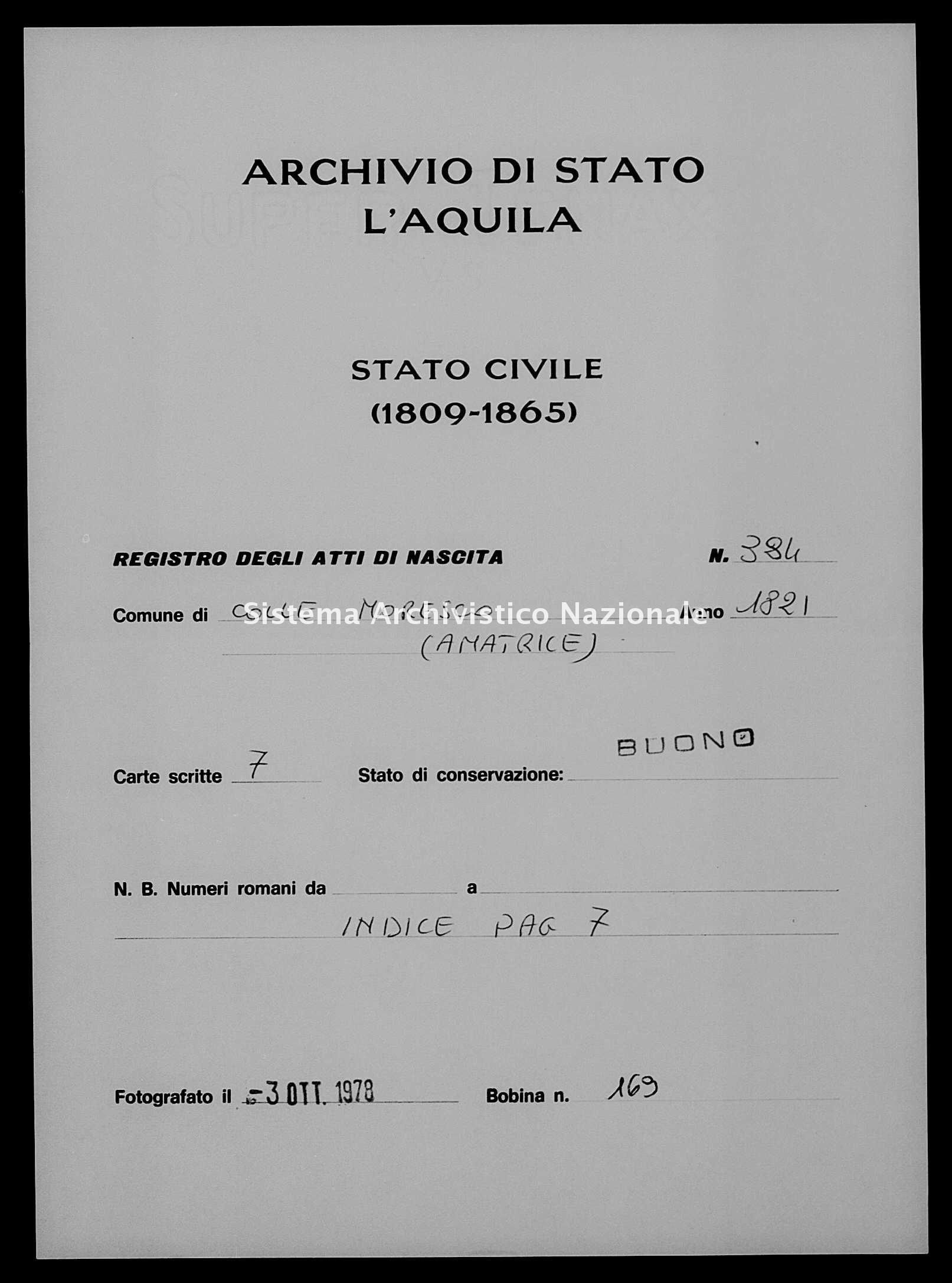Archivio di stato di L'aquila - Stato civile della restaurazione - Collemoresco - Nati - 1821 - 384 -