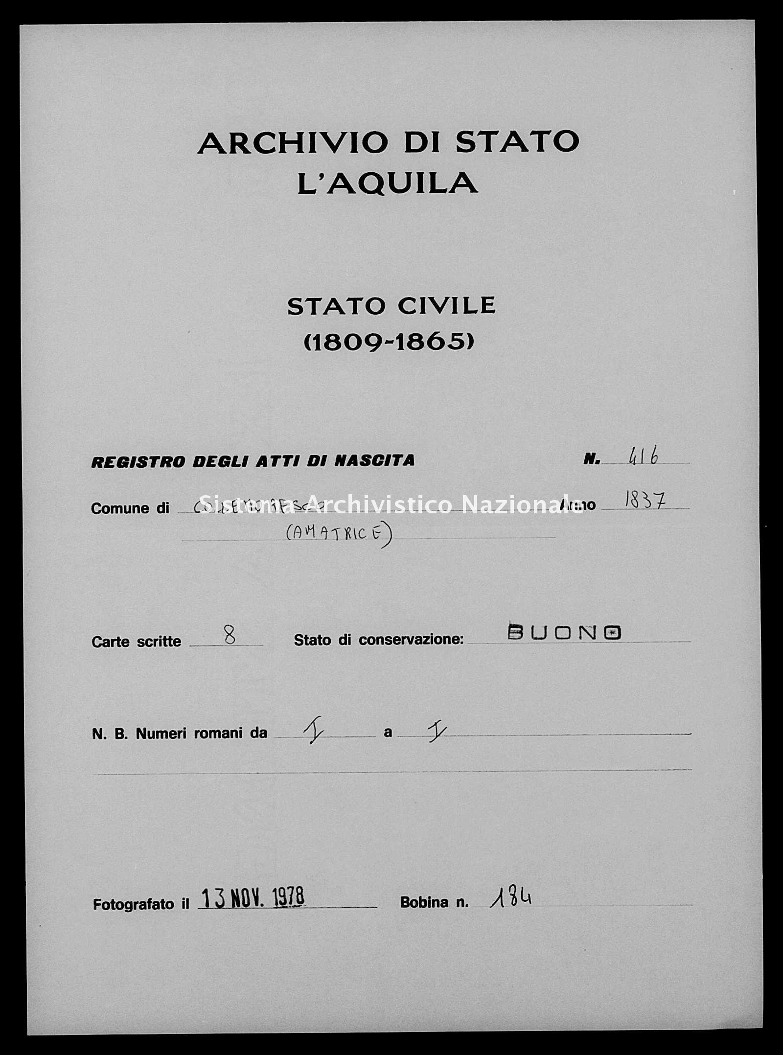 Archivio di stato di L'aquila - Stato civile della restaurazione - Collemoresco - Nati - 1837 - 416 -