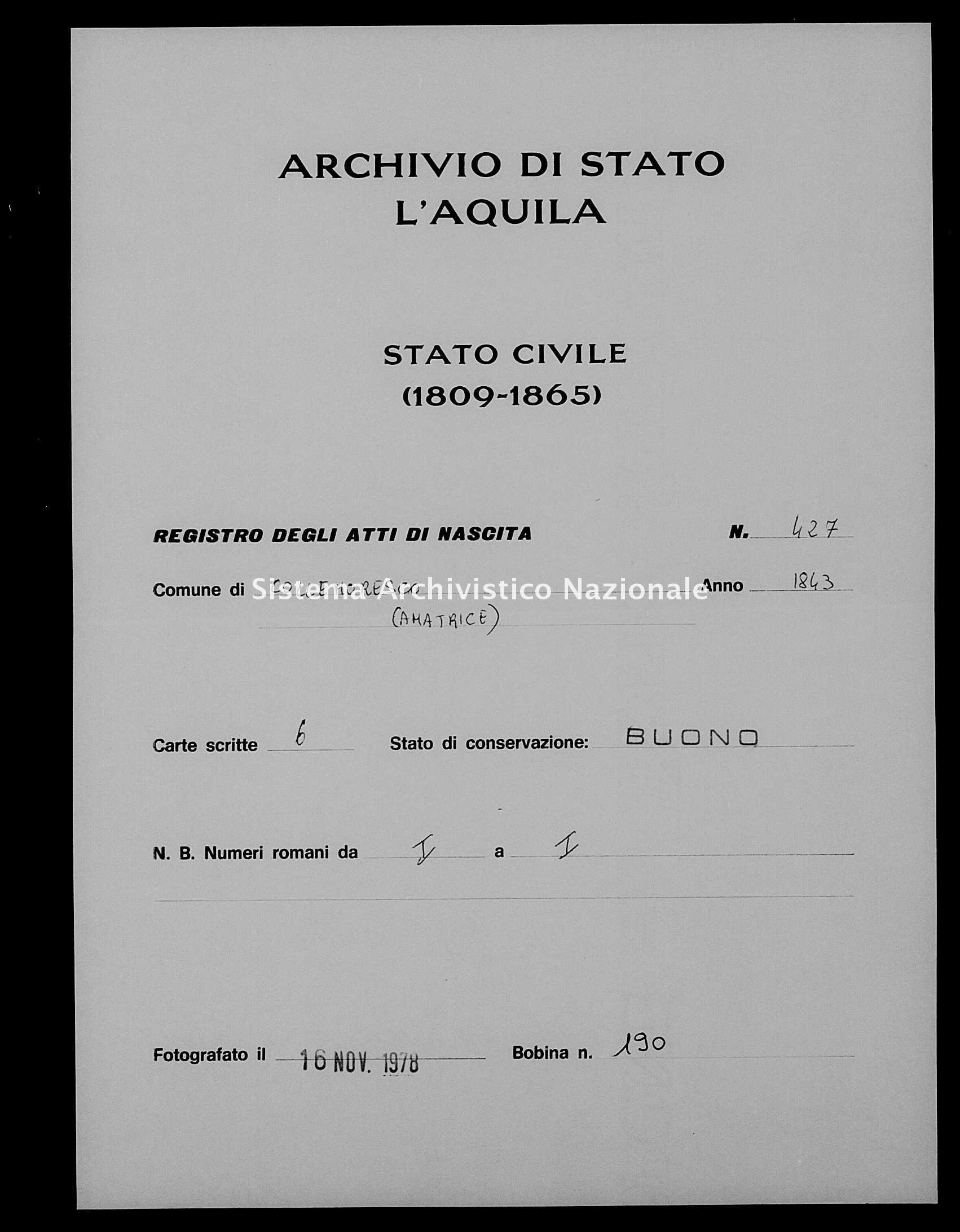 Archivio di stato di L'aquila - Stato civile della restaurazione - Collemoresco - Nati - 1843 - 427 -