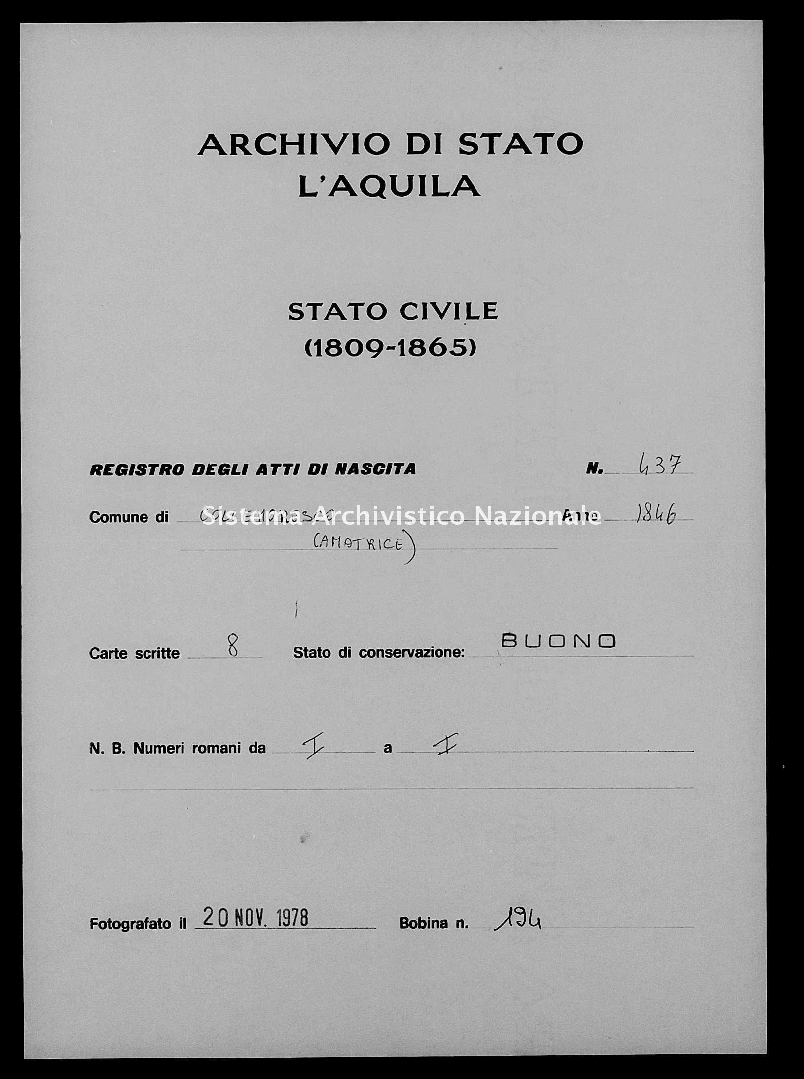 Archivio di stato di L'aquila - Stato civile della restaurazione - Collemoresco - Nati - 1846 - 437 -