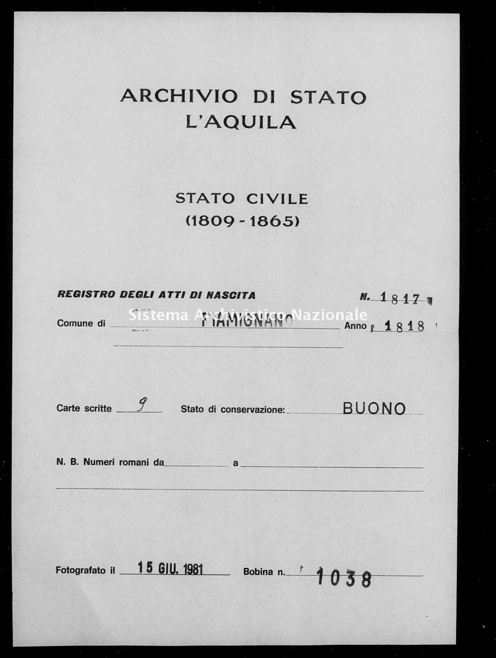 Archivio di stato di L'aquila - Stato civile della restaurazione - Fiamignano - Nati - 1818 - 1817 -