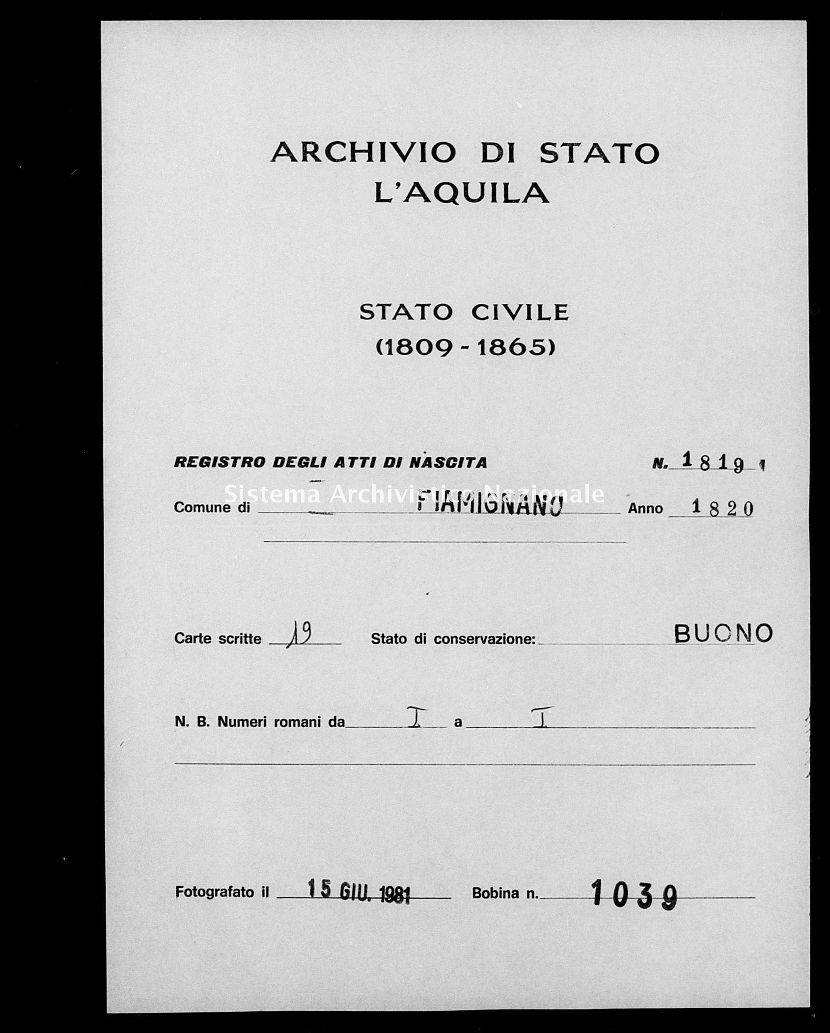 Archivio di stato di L'aquila - Stato civile della restaurazione - Fiamignano - Nati - 1820 - 1819 -