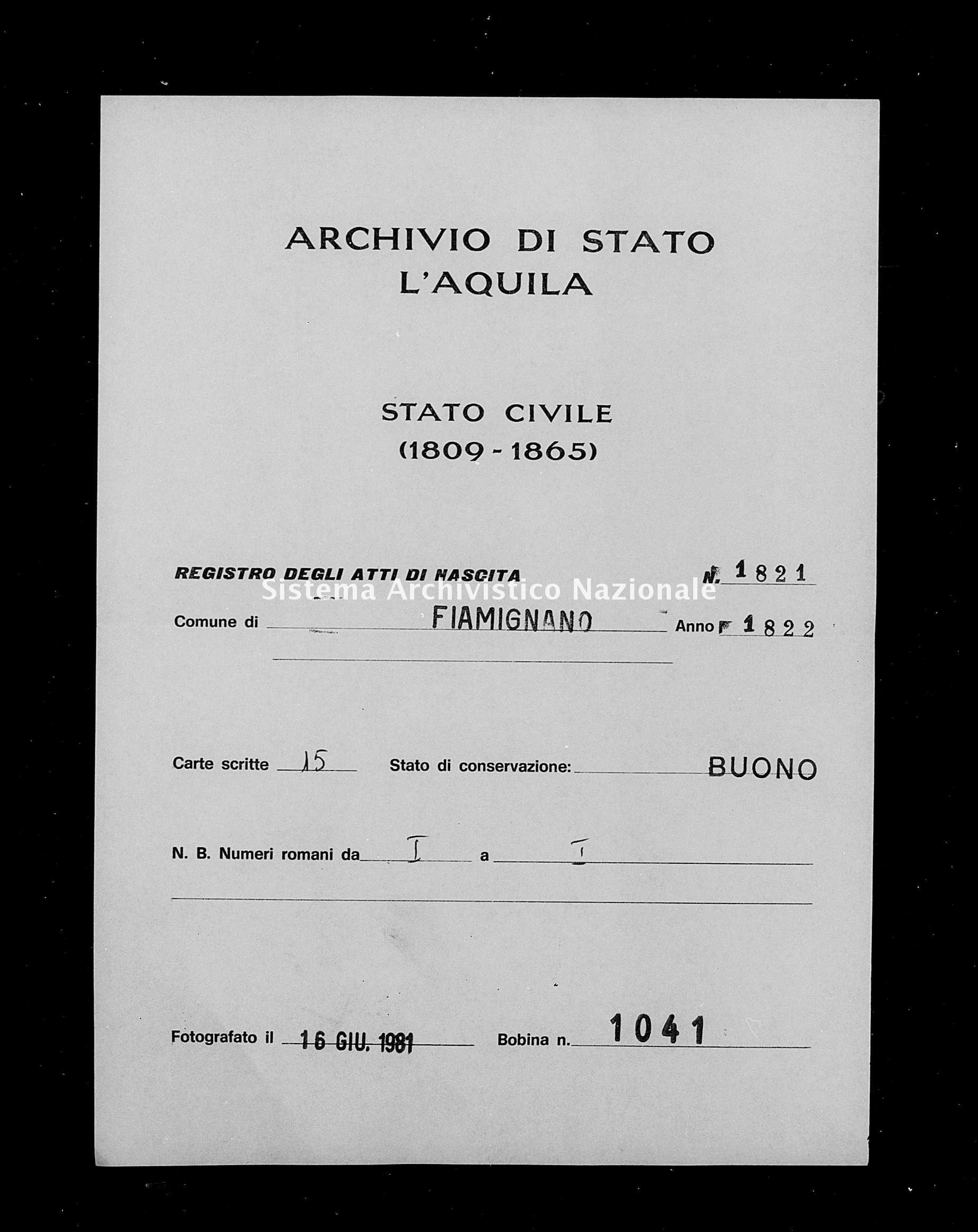 Archivio di stato di L'aquila - Stato civile della restaurazione - Fiamignano - Nati - 1822 - 1821 -
