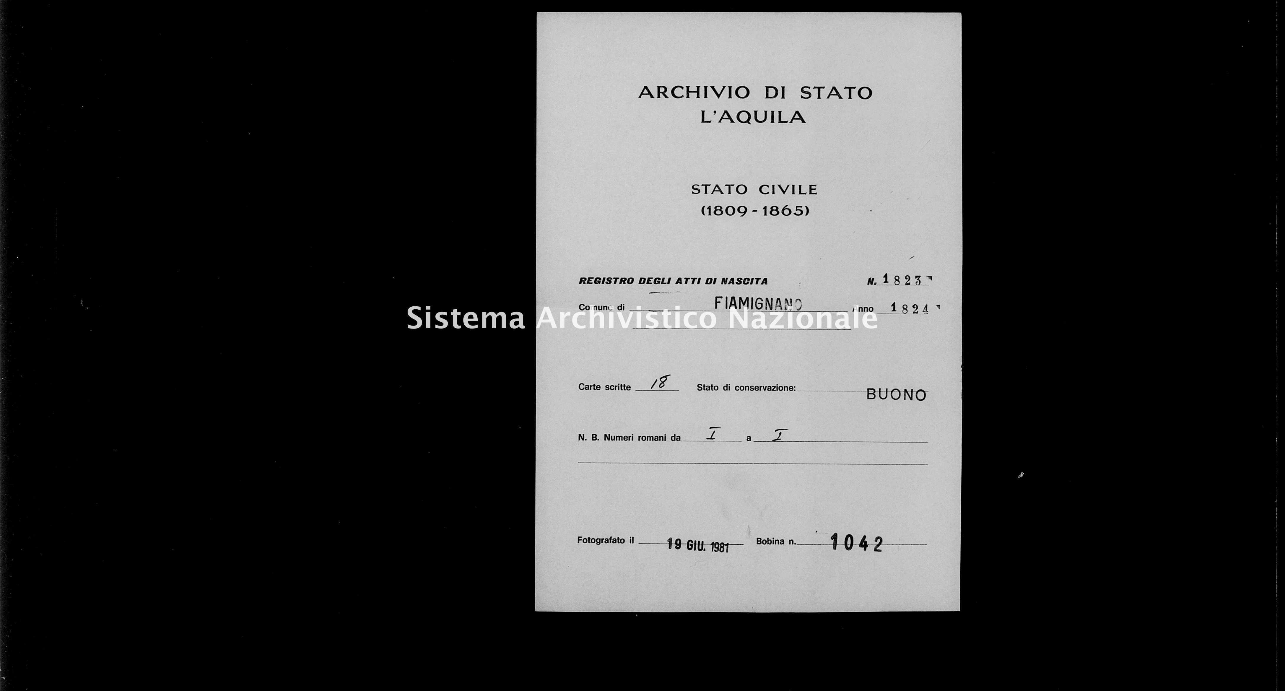 Archivio di stato di L'aquila - Stato civile della restaurazione - Fiamignano - Nati - 1824 - 1823 -
