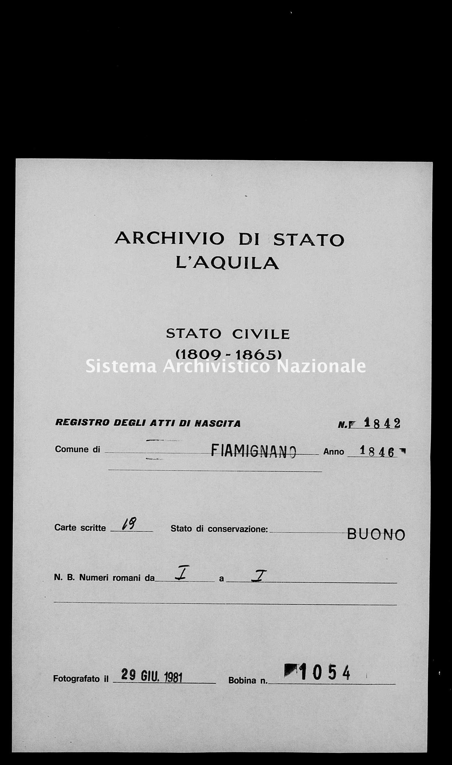 Archivio di stato di L'aquila - Stato civile della restaurazione - Fiamignano - Nati - 1846 - 1842 -