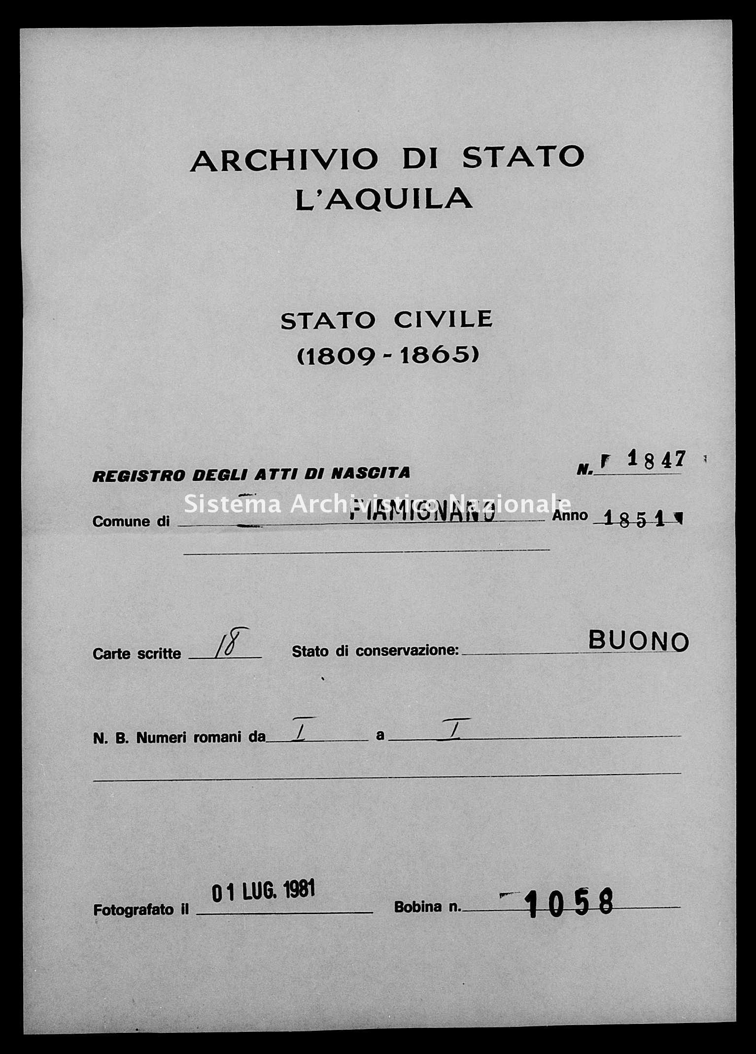 Archivio di stato di L'aquila - Stato civile della restaurazione - Fiamignano - Nati - 1851 - 1847 -