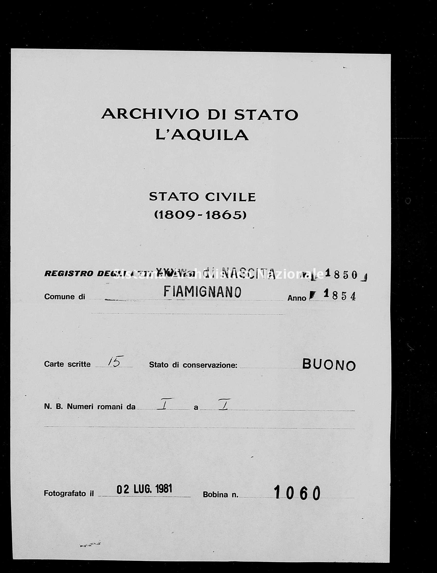 Archivio di stato di L'aquila - Stato civile della restaurazione - Fiamignano - Nati - 1854 - 1850 -