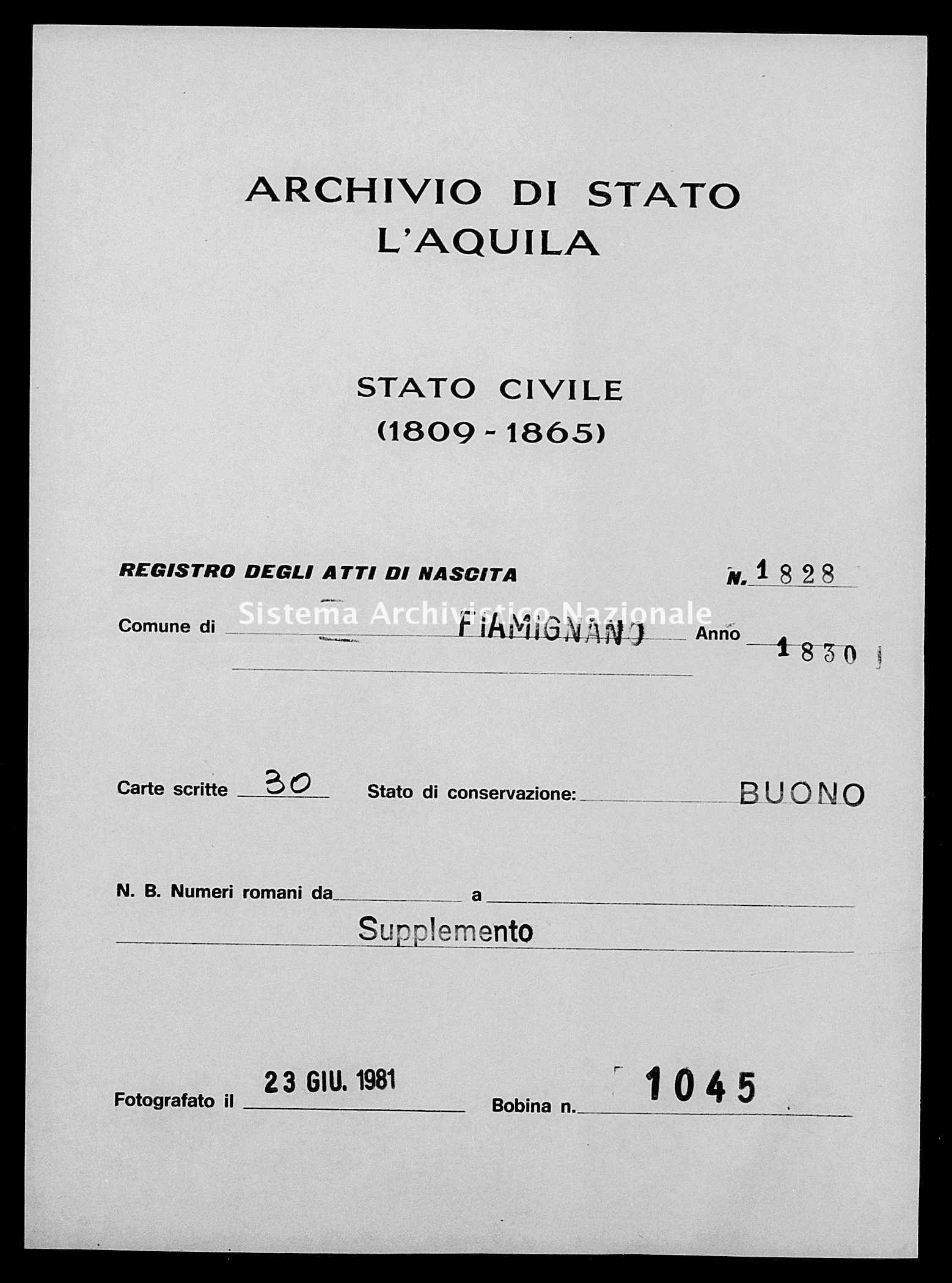 Archivio di stato di L'aquila - Stato civile della restaurazione - Fiamignano - Nati, battesimi - 1830 - 1828 -
