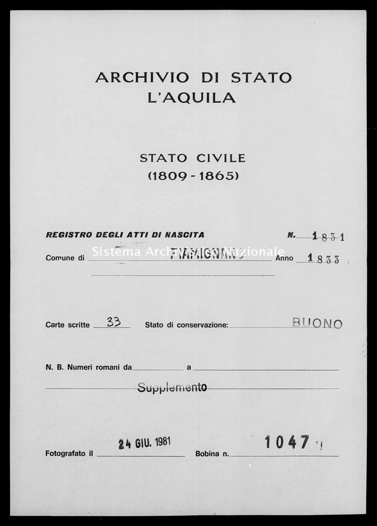Archivio di stato di L'aquila - Stato civile della restaurazione - Fiamignano - Nati, battesimi - 1833 - 1831 -