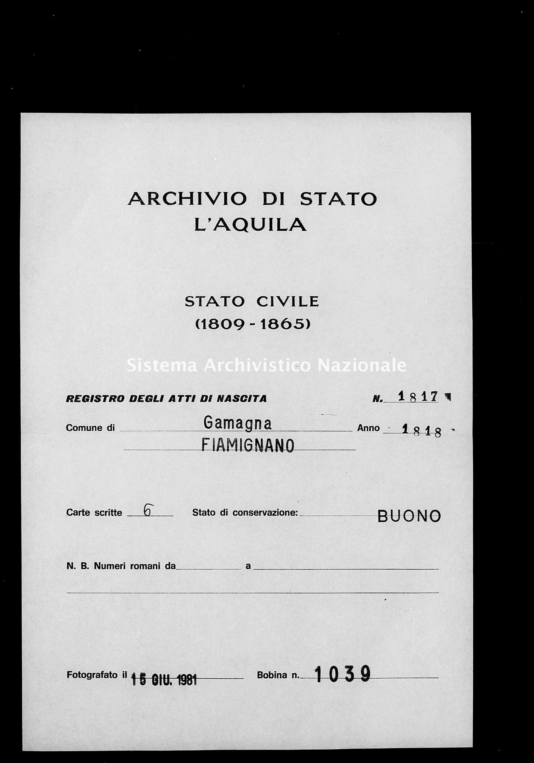 Archivio di stato di L'aquila - Stato civile della restaurazione - Gamagna - Nati - 1818 - 1817 -