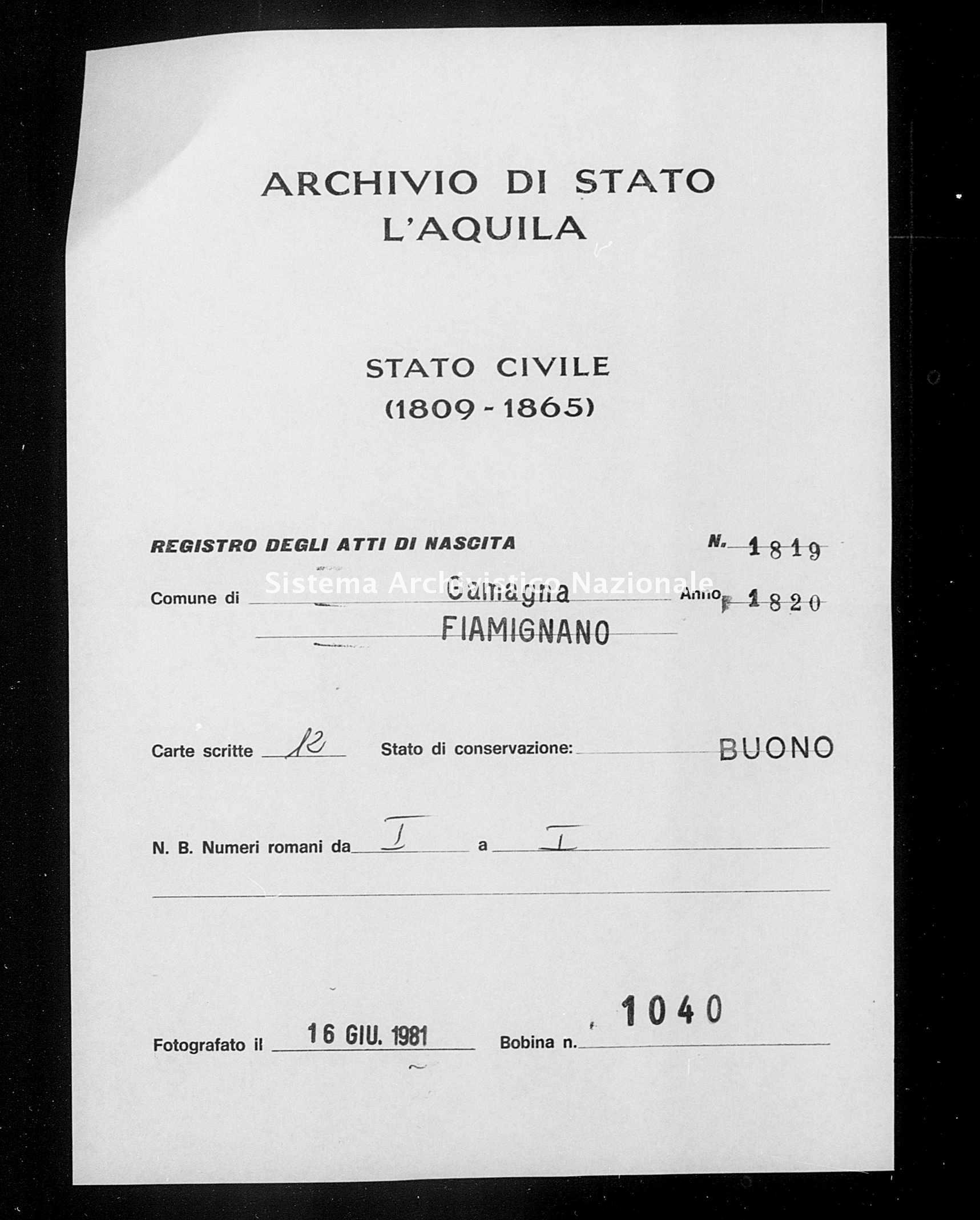 Archivio di stato di L'aquila - Stato civile della restaurazione - Gamagna - Nati - 1820 - 1819 -