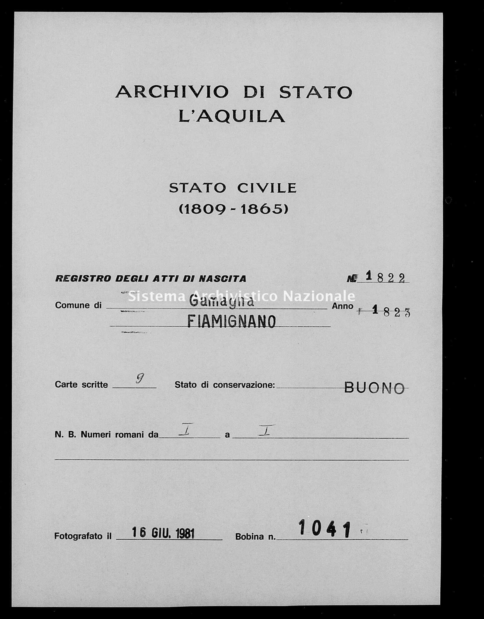 Archivio di stato di L'aquila - Stato civile della restaurazione - Gamagna - Nati - 1823 - 1822 -