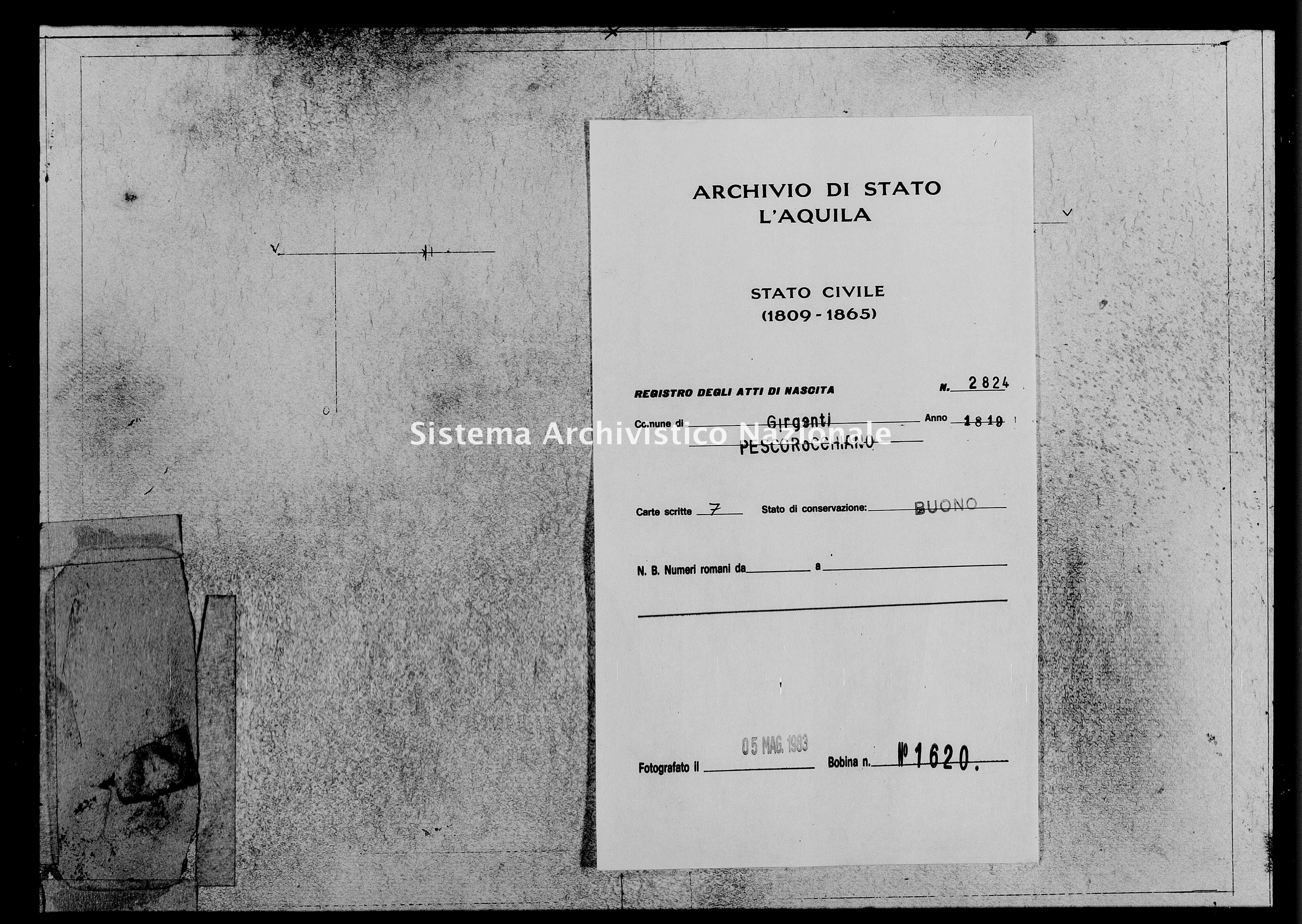 Archivio di stato di L'aquila - Stato civile della restaurazione - Girgenti - Nati - 1819 - 2824 -