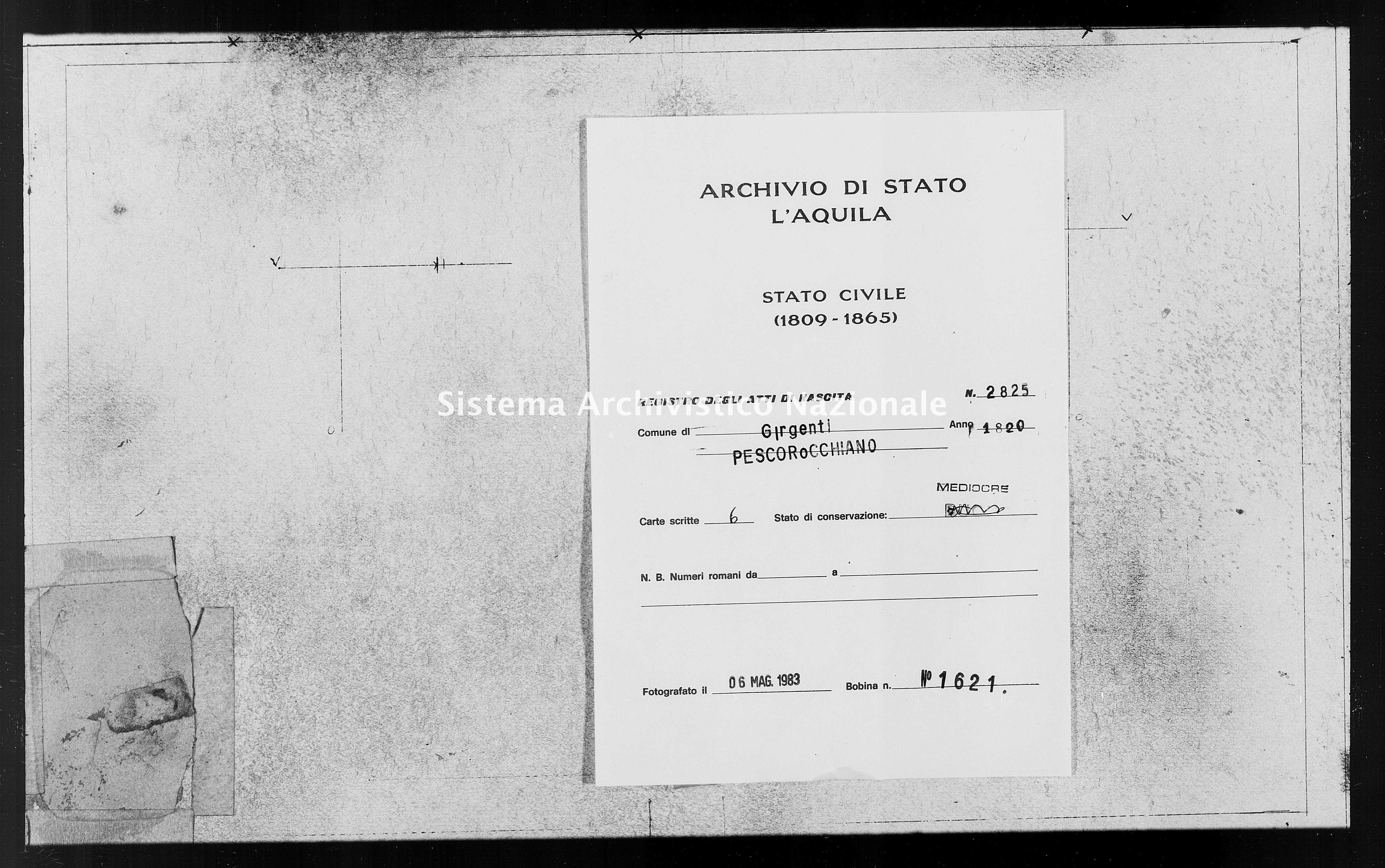 Archivio di stato di L'aquila - Stato civile della restaurazione - Girgenti - Nati - 1820 - 2825 -