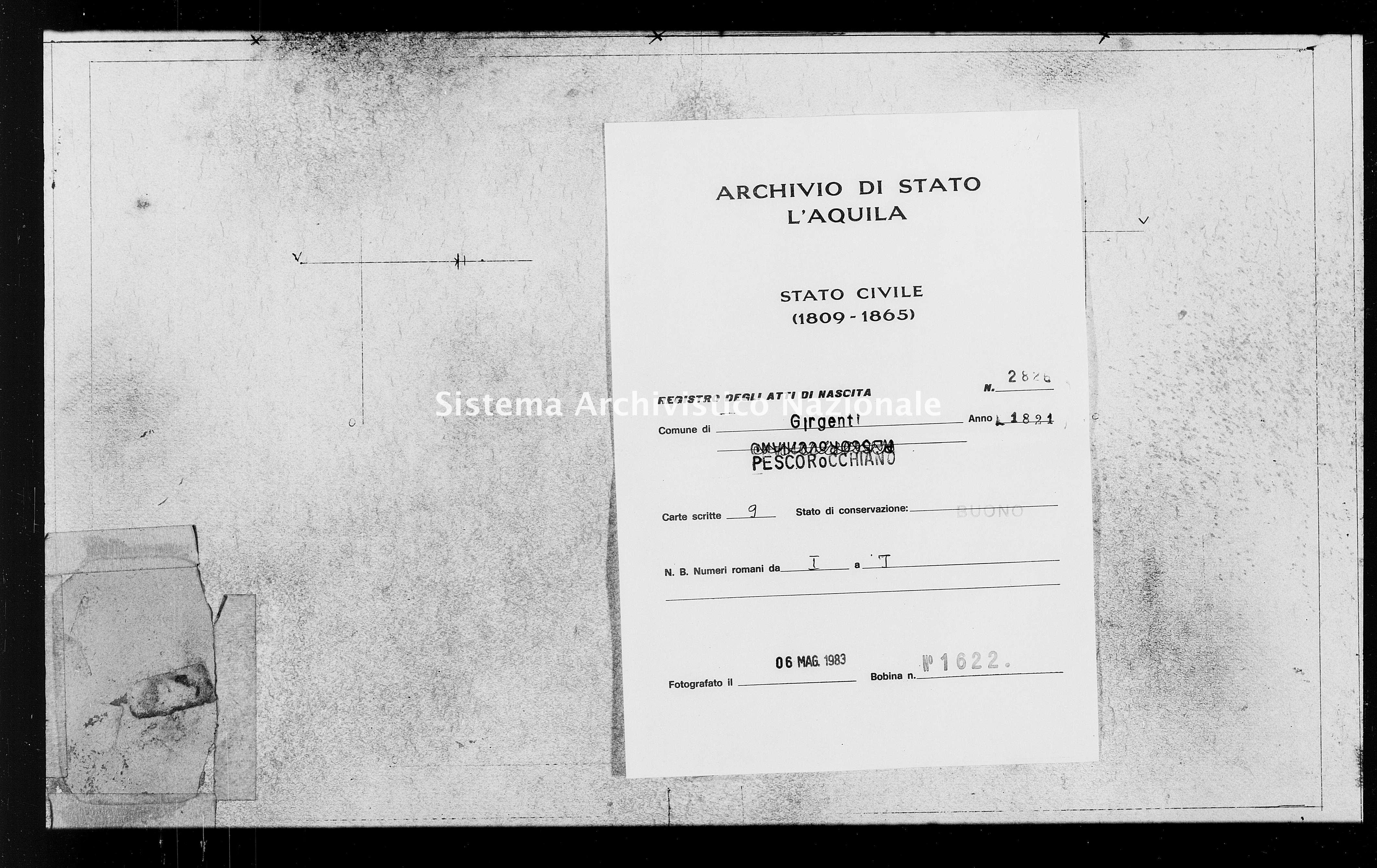 Archivio di stato di L'aquila - Stato civile della restaurazione - Girgenti - Nati - 1821 - 2826 -