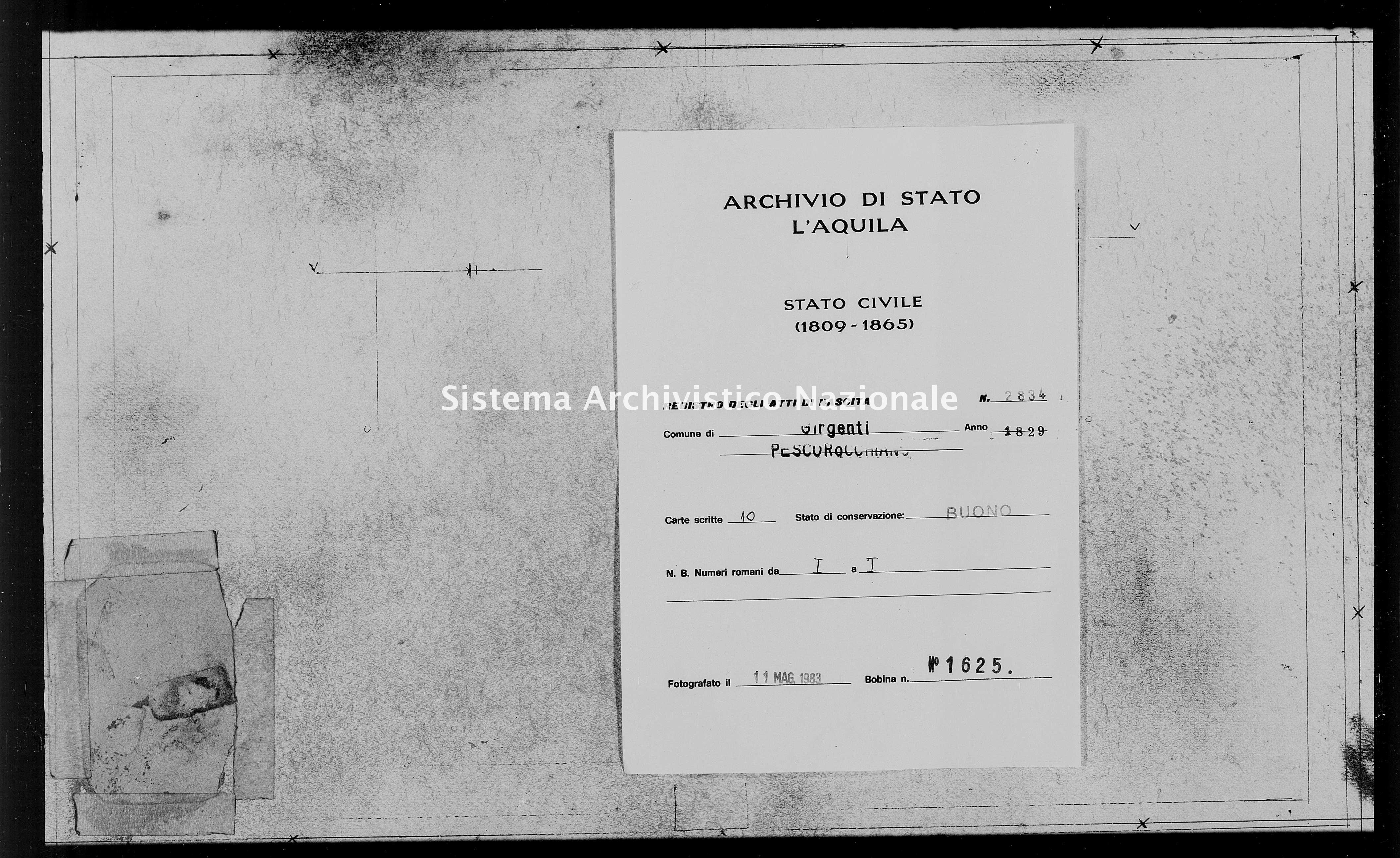 Archivio di stato di L'aquila - Stato civile della restaurazione - Girgenti - Nati - 1829 - 2834 -
