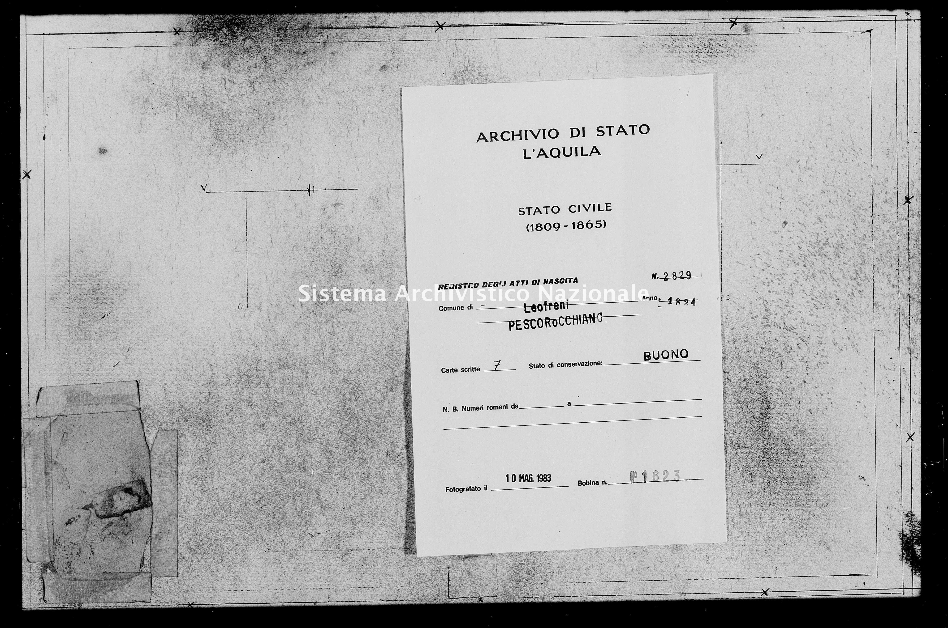 Archivio di stato di L'aquila - Stato civile della restaurazione - Leofreni - Nati - 1824 - 2829 -