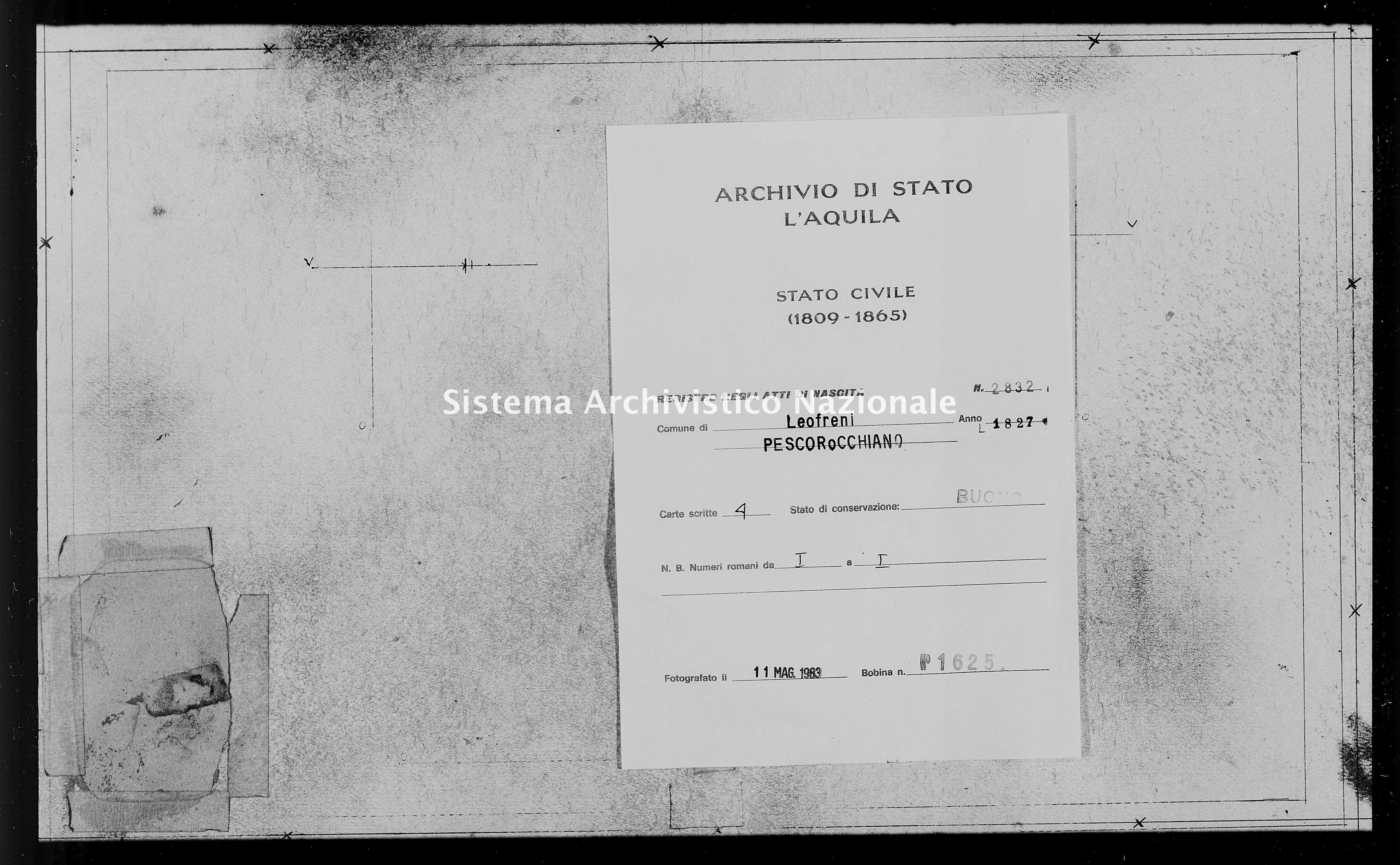 Archivio di stato di L'aquila - Stato civile della restaurazione - Leofreni - Nati - 1827 - 2832 -