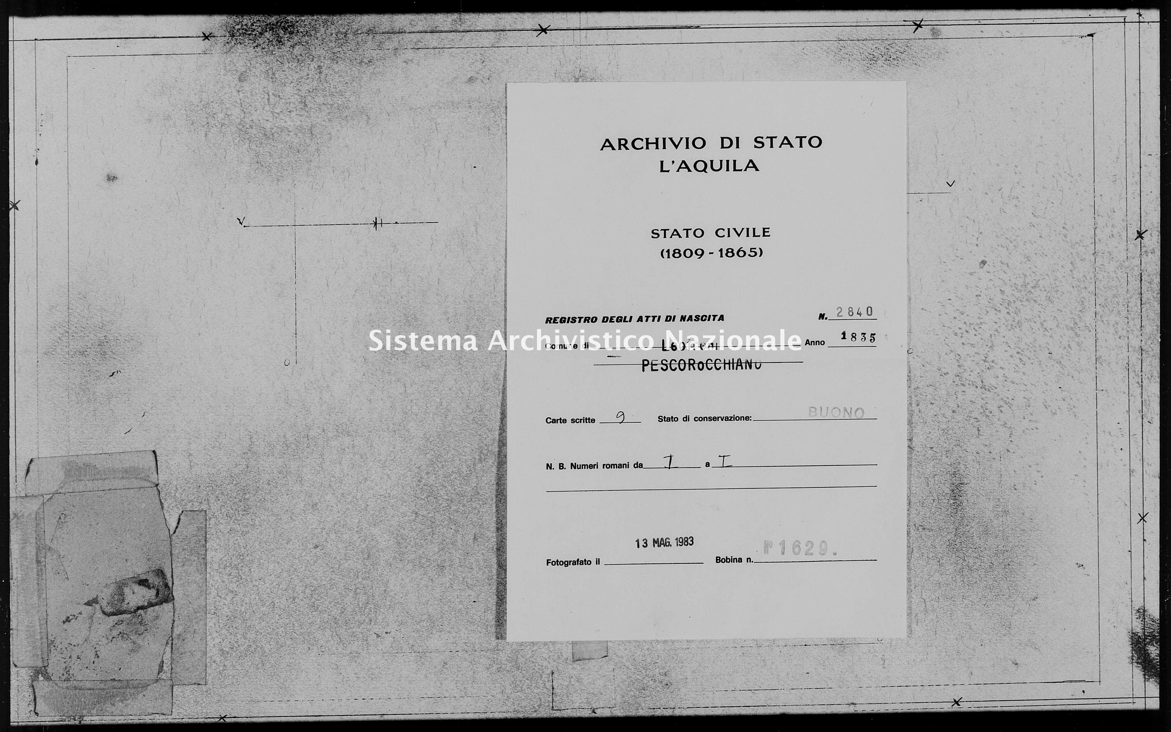 Archivio di stato di L'aquila - Stato civile della restaurazione - Leofreni - Nati - 1835 - 2840 -
