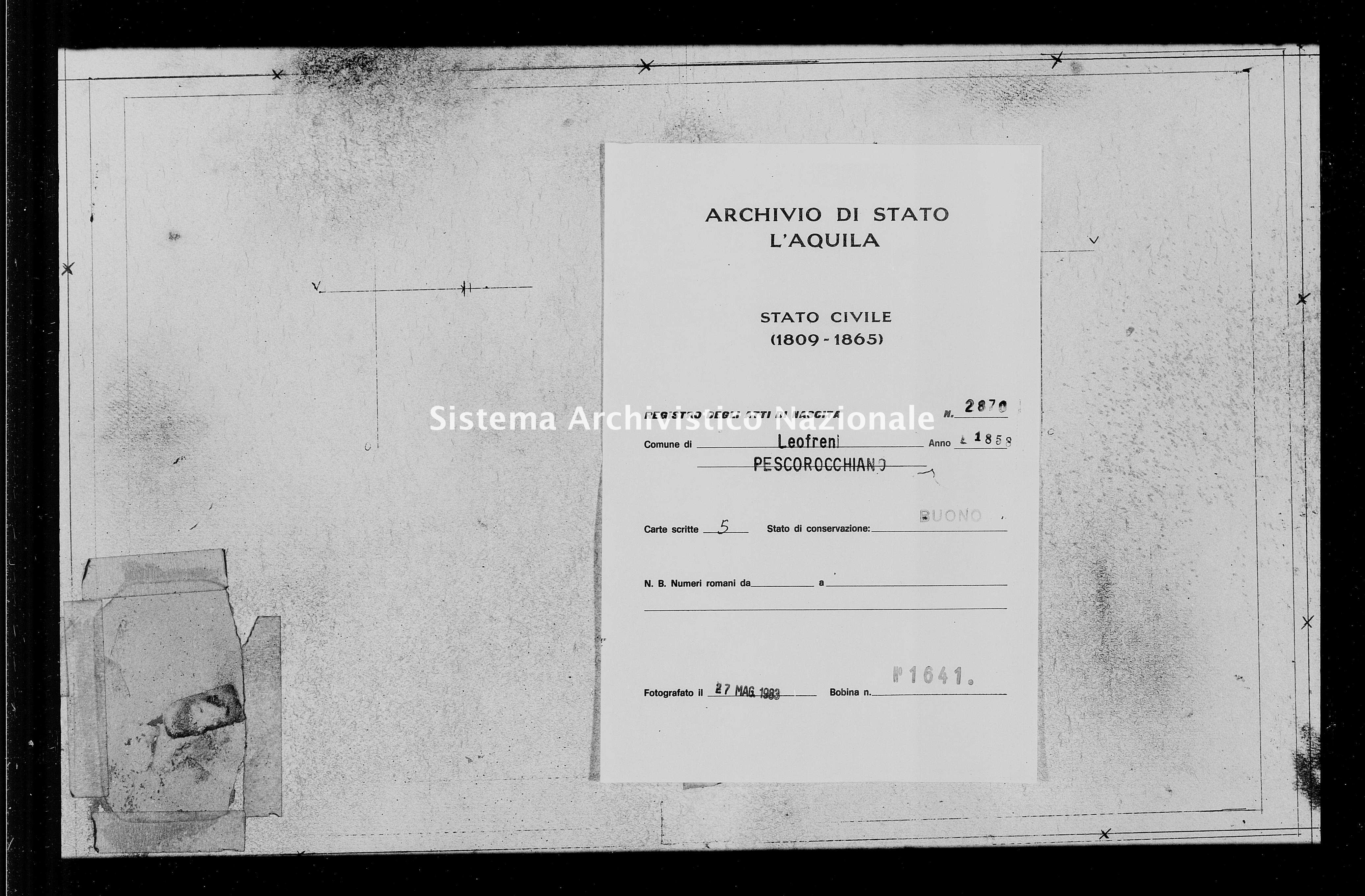 Archivio di stato di L'aquila - Stato civile della restaurazione - Leofreni - Nati - 1858 - 2870 -