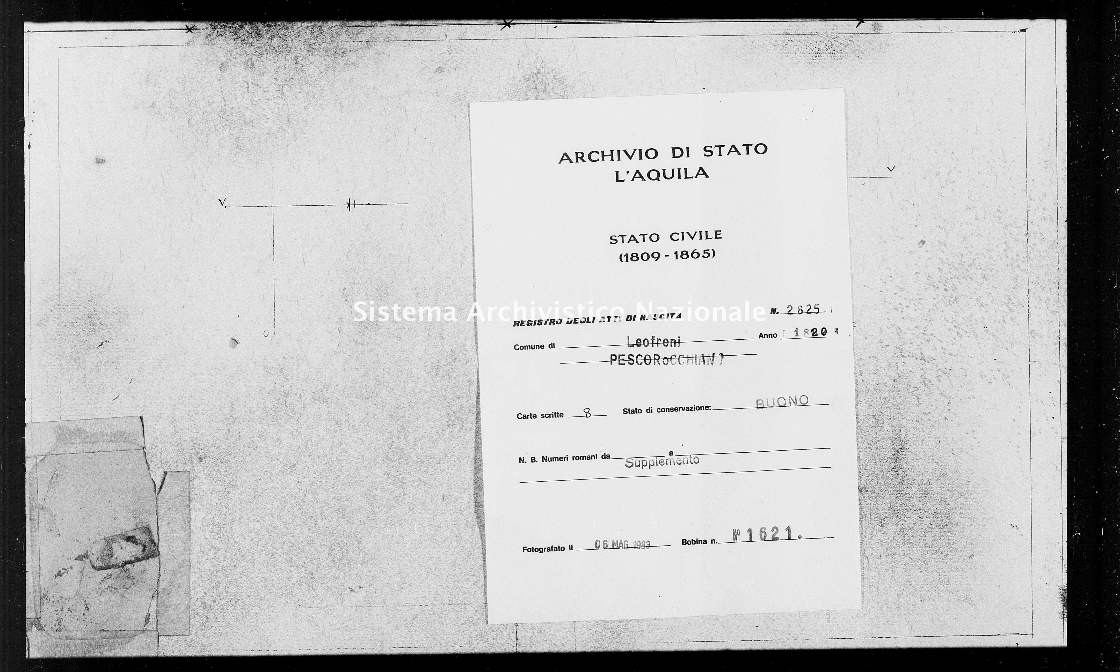 Archivio di stato di L'aquila - Stato civile della restaurazione - Leofreni - Nati, battesimi - 1820 - 2825 -