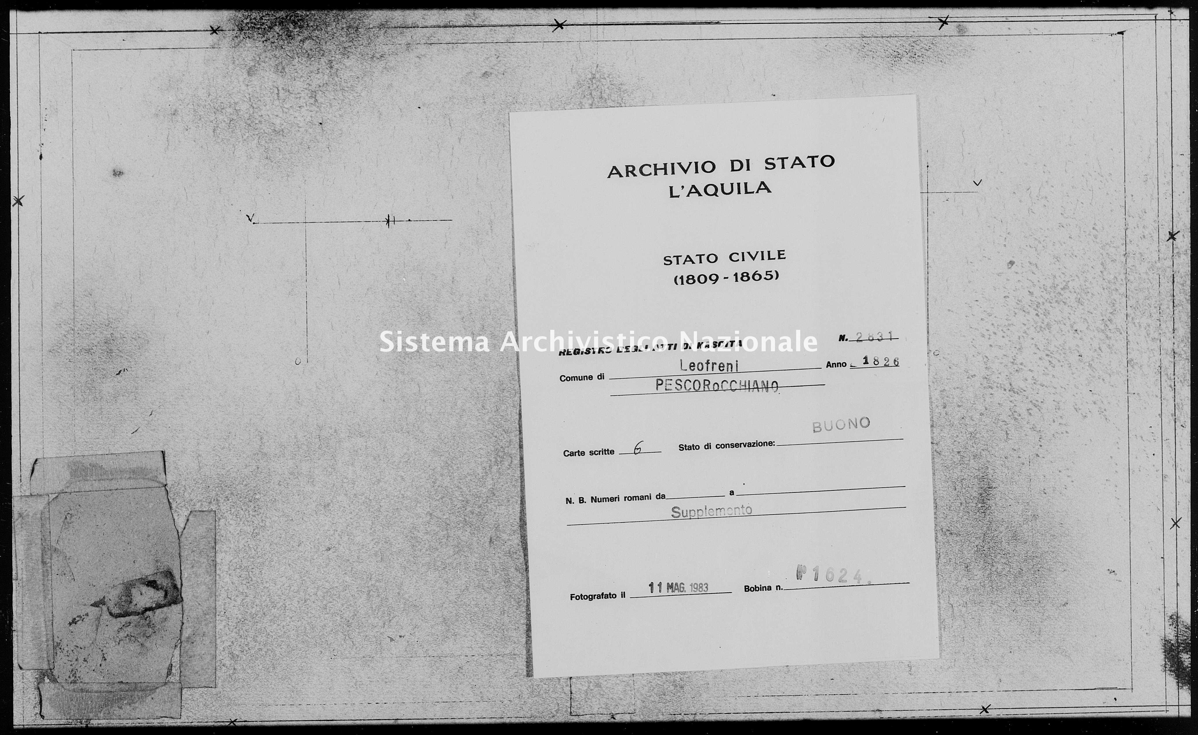 Archivio di stato di L'aquila - Stato civile della restaurazione - Leofreni - Nati, battesimi - 1826 - 2831 -