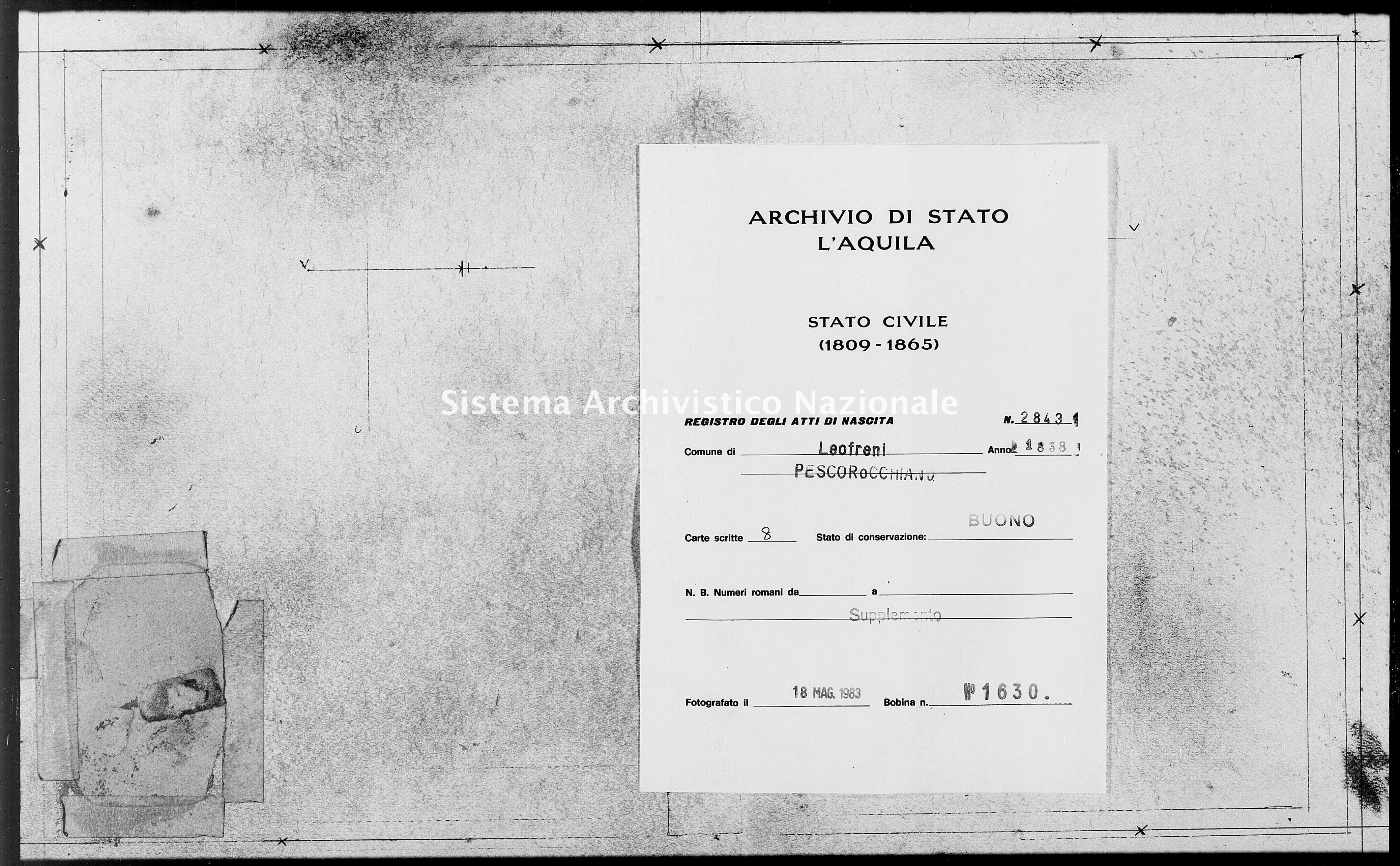Archivio di stato di L'aquila - Stato civile della restaurazione - Leofreni - Nati, battesimi - 1838 - 2843 -